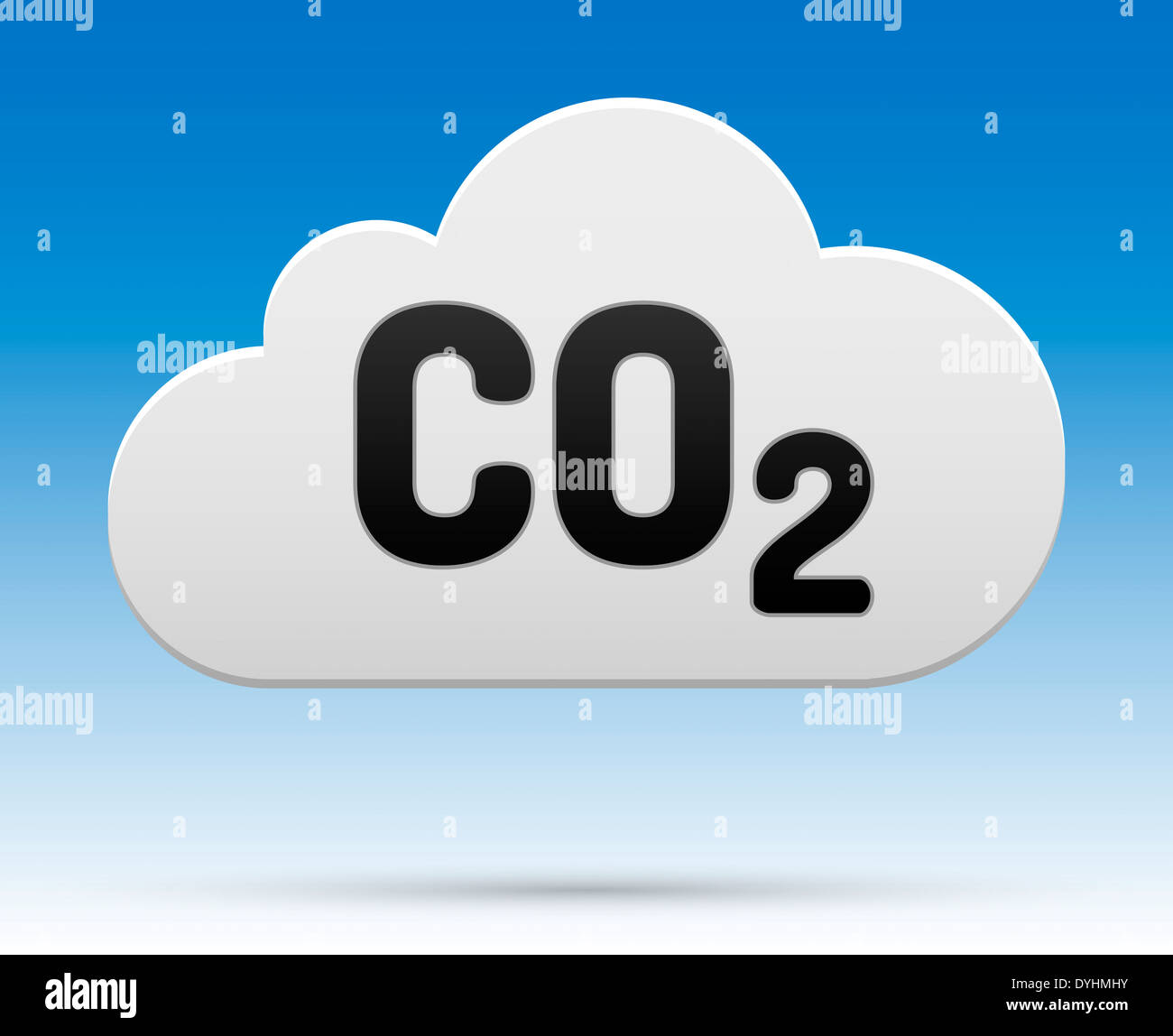CO2 sign in cloud with shadow and background. - Stock Image