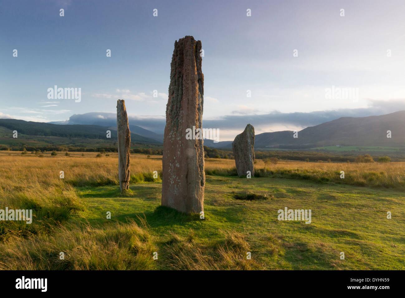 machrie moor standing stones arran - Stock Image