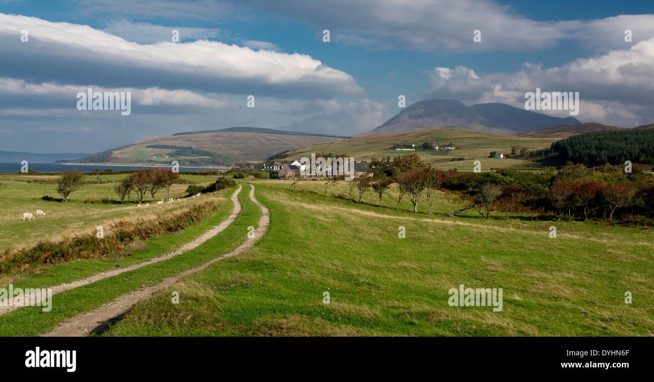 machrie moor farm track - Stock Image