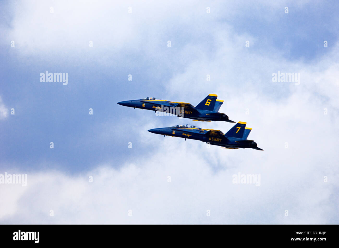 Blue Angels F/A-18 Fighter Jet Practicing for Thunder Over Louisville in Louisville, Kentucky Stock Photo