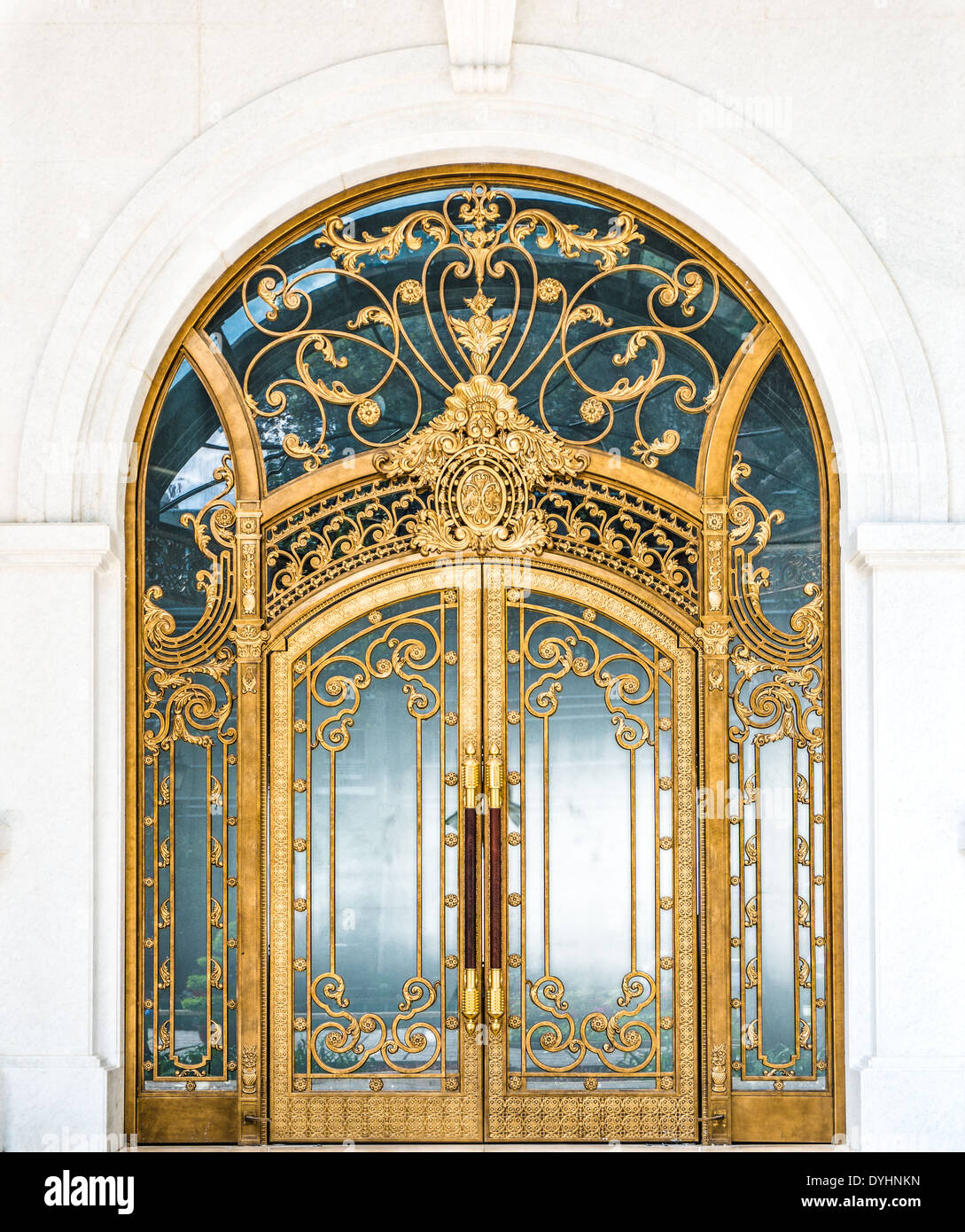 Beautiful Arched Doorway Door Made Of Wood Gold And Glass Stock
