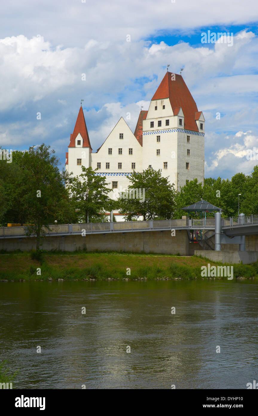 Ingolstadt, New Castle, Neues Schloss castle, Danube river, Upper Bavaria, Bavaria, Germany, Stock Photo