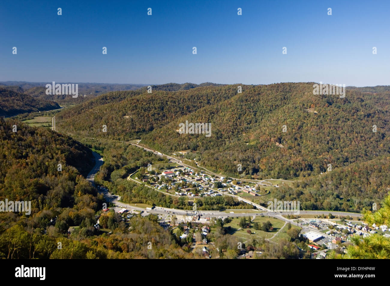 View of Pineville Kentucky and Autumn Color in Surrounding Mountains Stock Photo