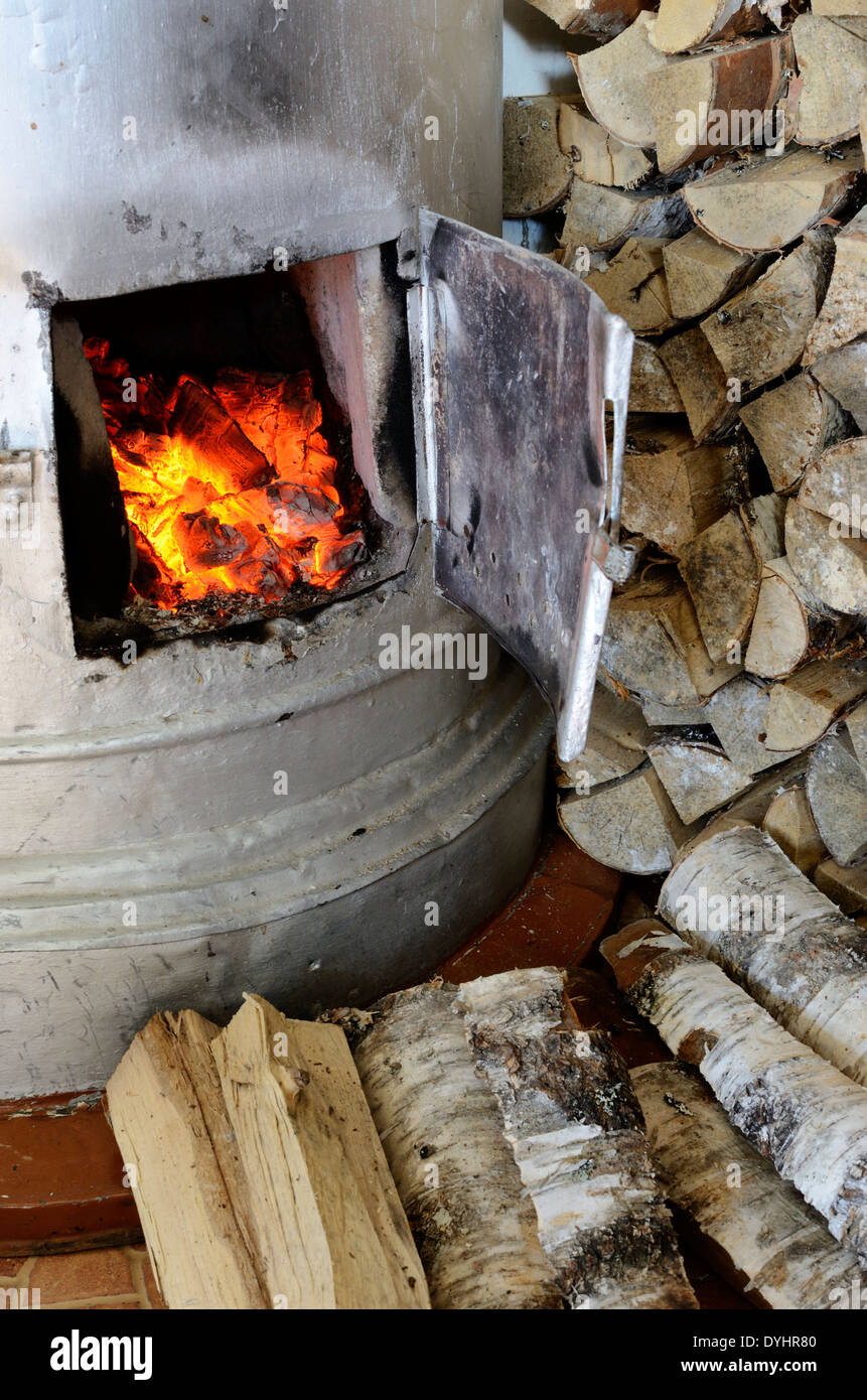 old stove flame and birch firewood, vertical - Stock Image