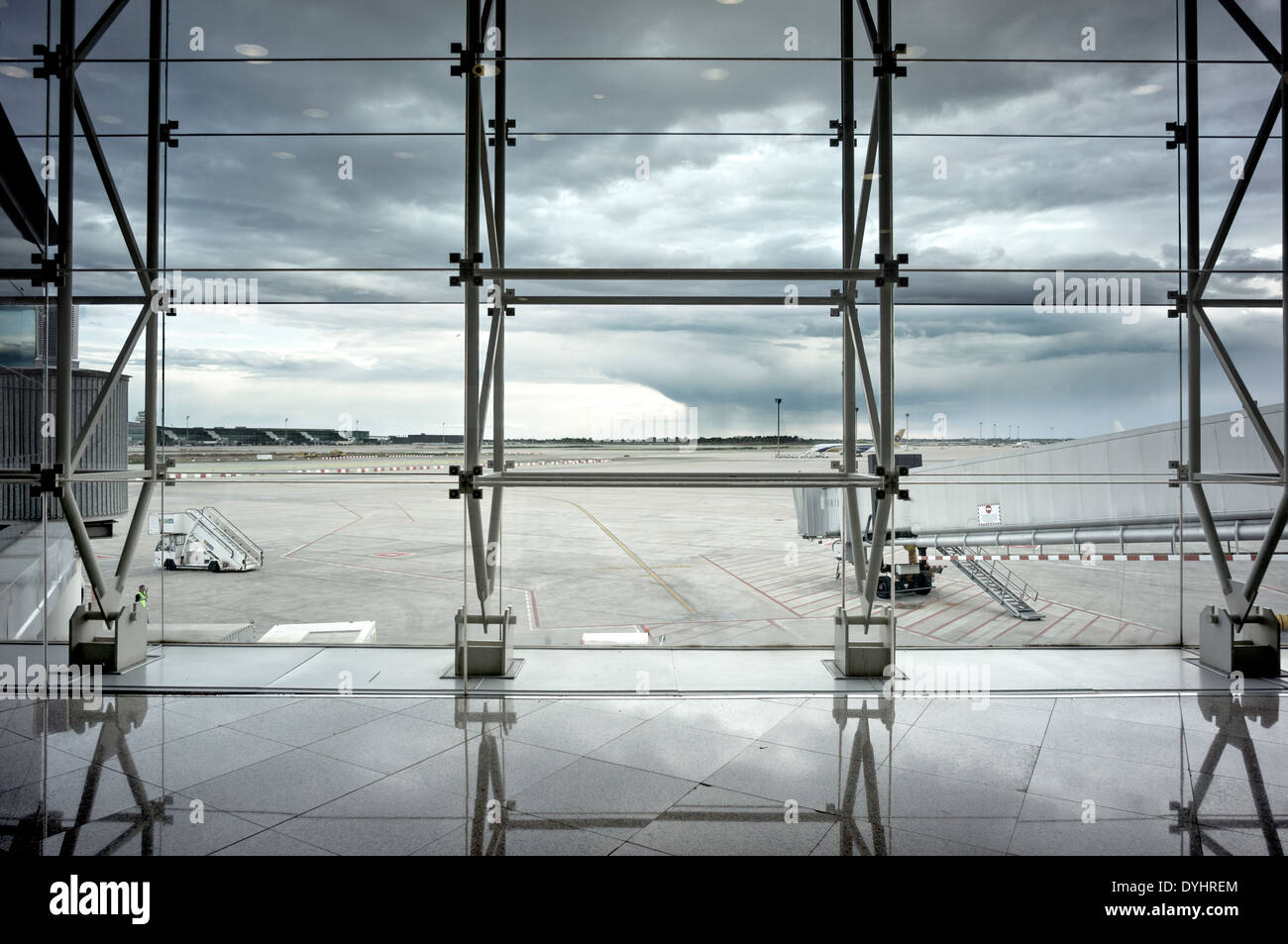 View from the pre-boarding area of El Prat Airport in Barcelona Spain. - Stock Image