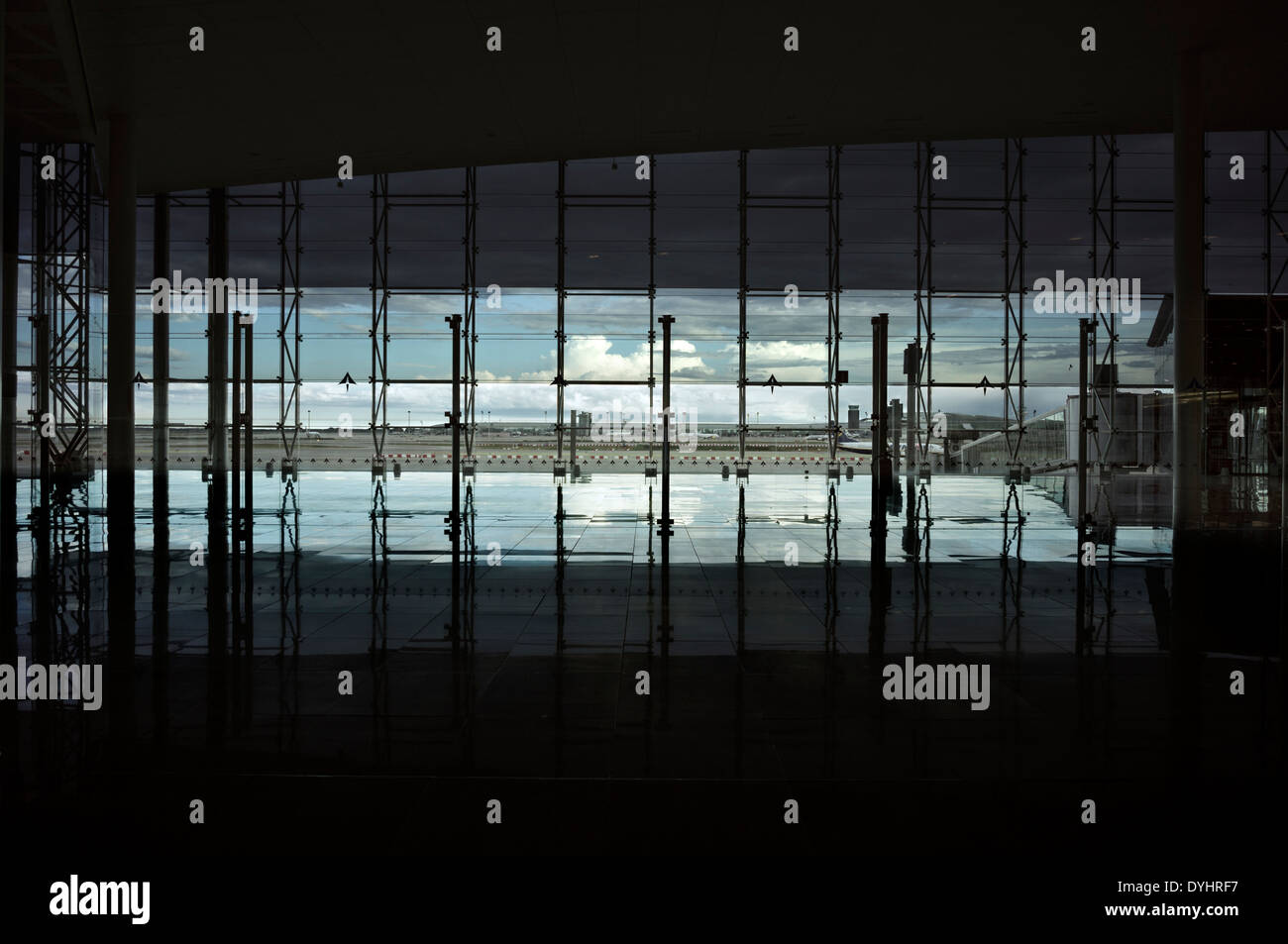 View from the pre-boarding area of El Prat Airport in Barcelona, Spain. - Stock Image