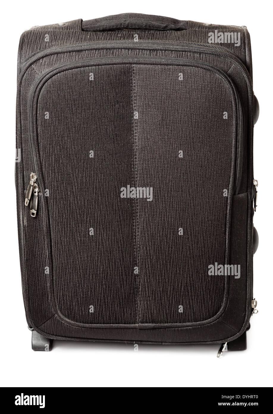 Black travel suitcase isolated on white background - Stock Image