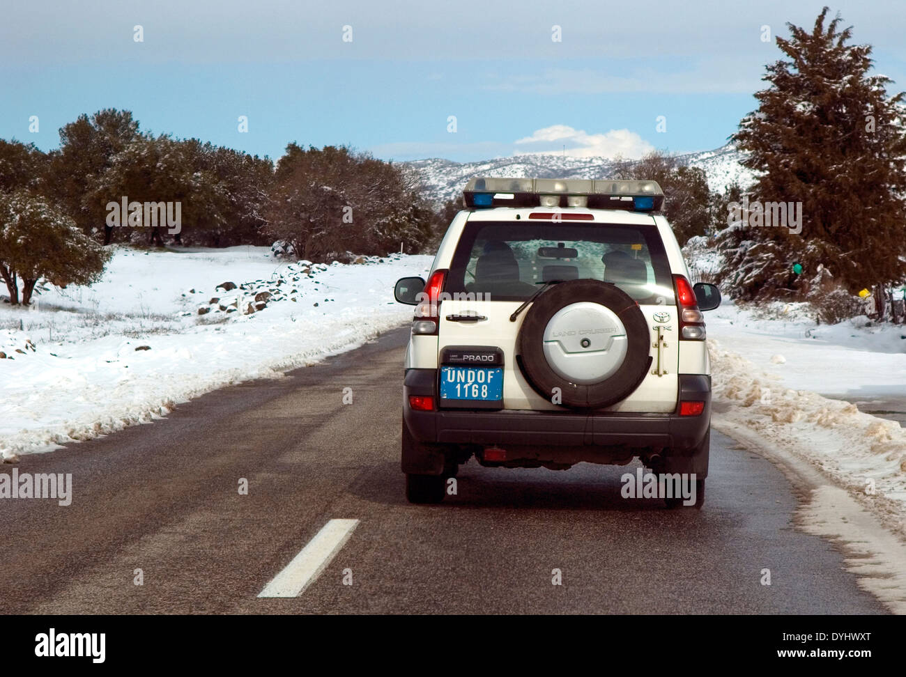 UN Vehicle, Peace keeping forces, Golan heights, Israel - Stock Image
