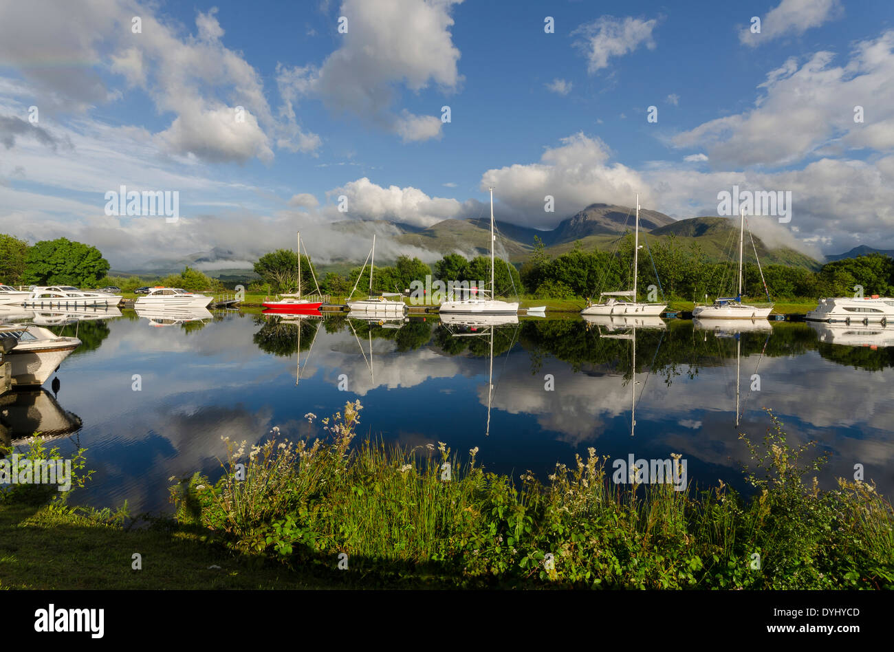 mooring basin at banavie by fort william with ben nevis - Stock Image