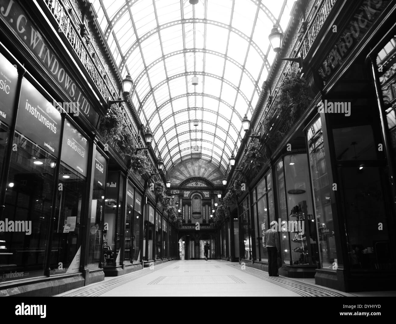 View of ornate historic Central Arcade (aka Windows Arcade), a popular shopping venue in Newcastle upon Tyne, England, UK - Stock Image