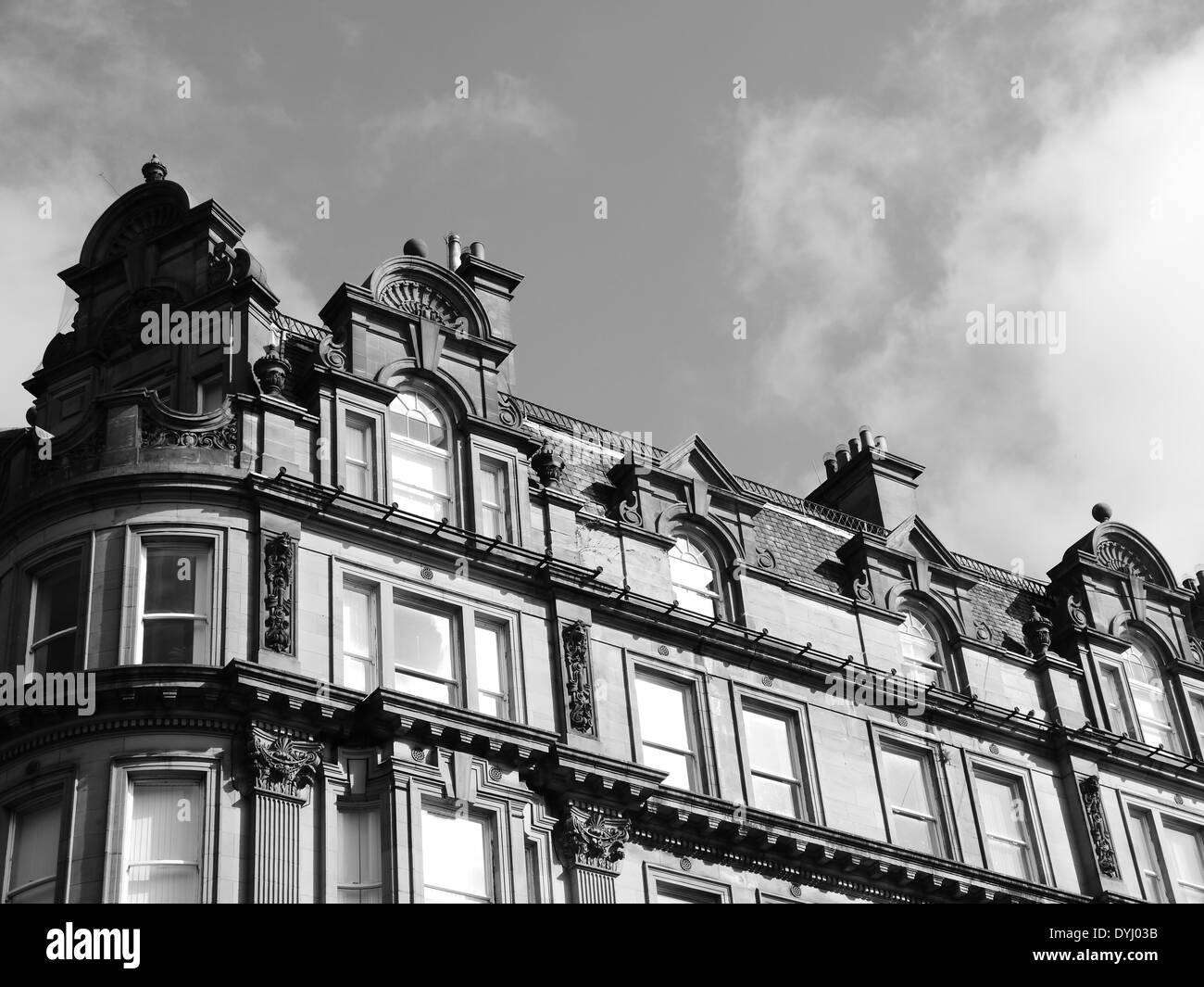 Architecture: neo-classical architectural features of a building in Collingwood Street, Newcastle upon Tyne, England, Stock Photo