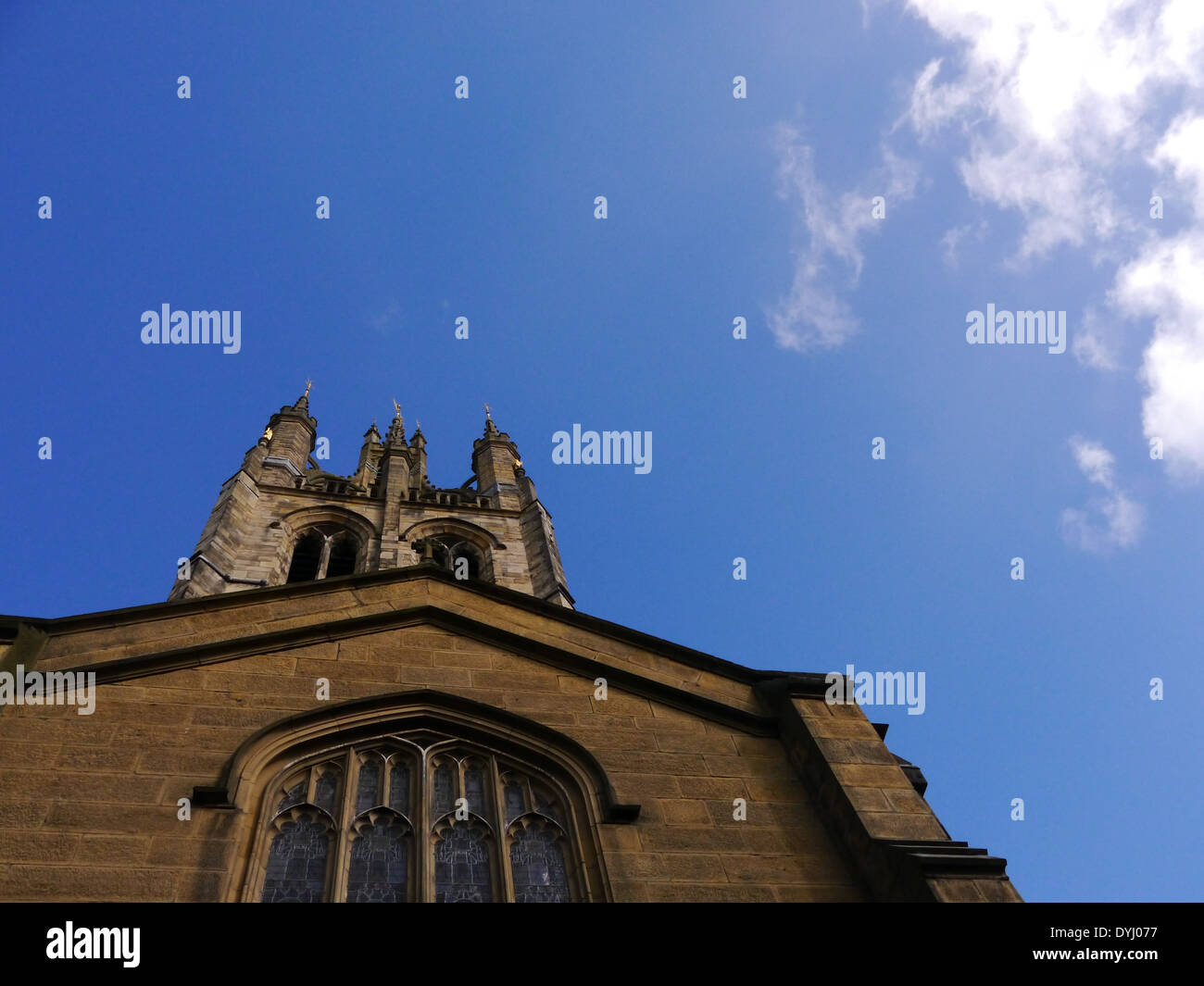 Creative view of 900 year old St. Nicholas Cathedral, Newcastle upon Tyne, England, UK - Stock Image