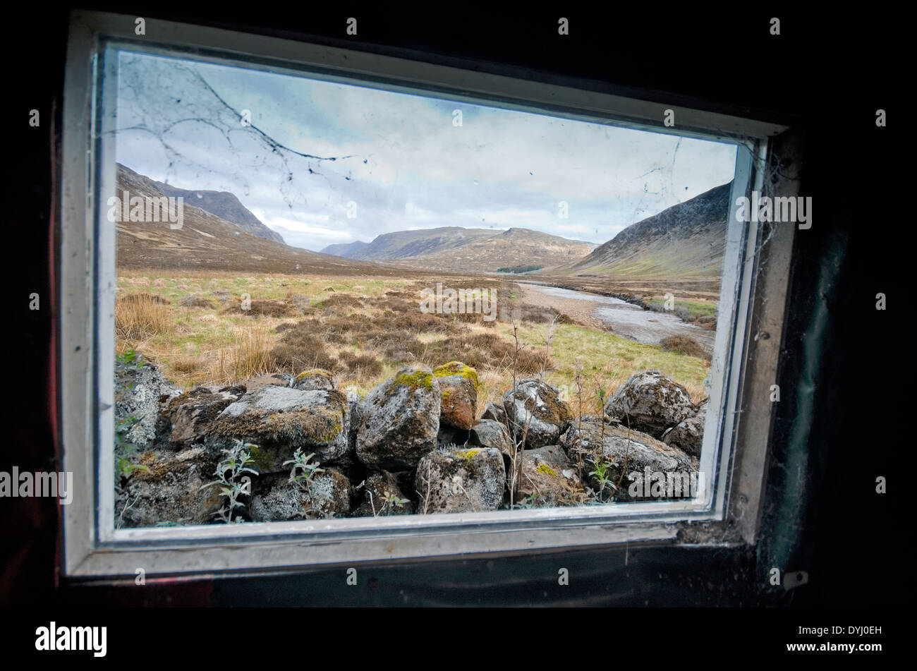 view from creagh dhu mountaineering club bothy shelter glencoe buachaille etive mor river coupal - Stock Image
