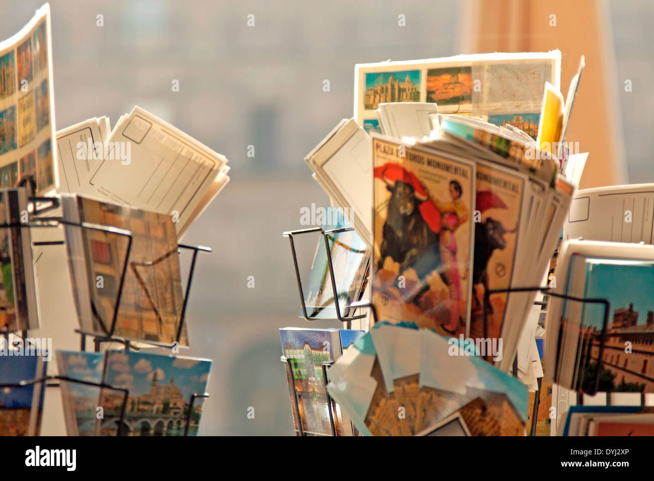 Picture postcards for sale from Spain at the Plaza Mayor, Salamanca, Castilla y León, Spain. Stock Photo
