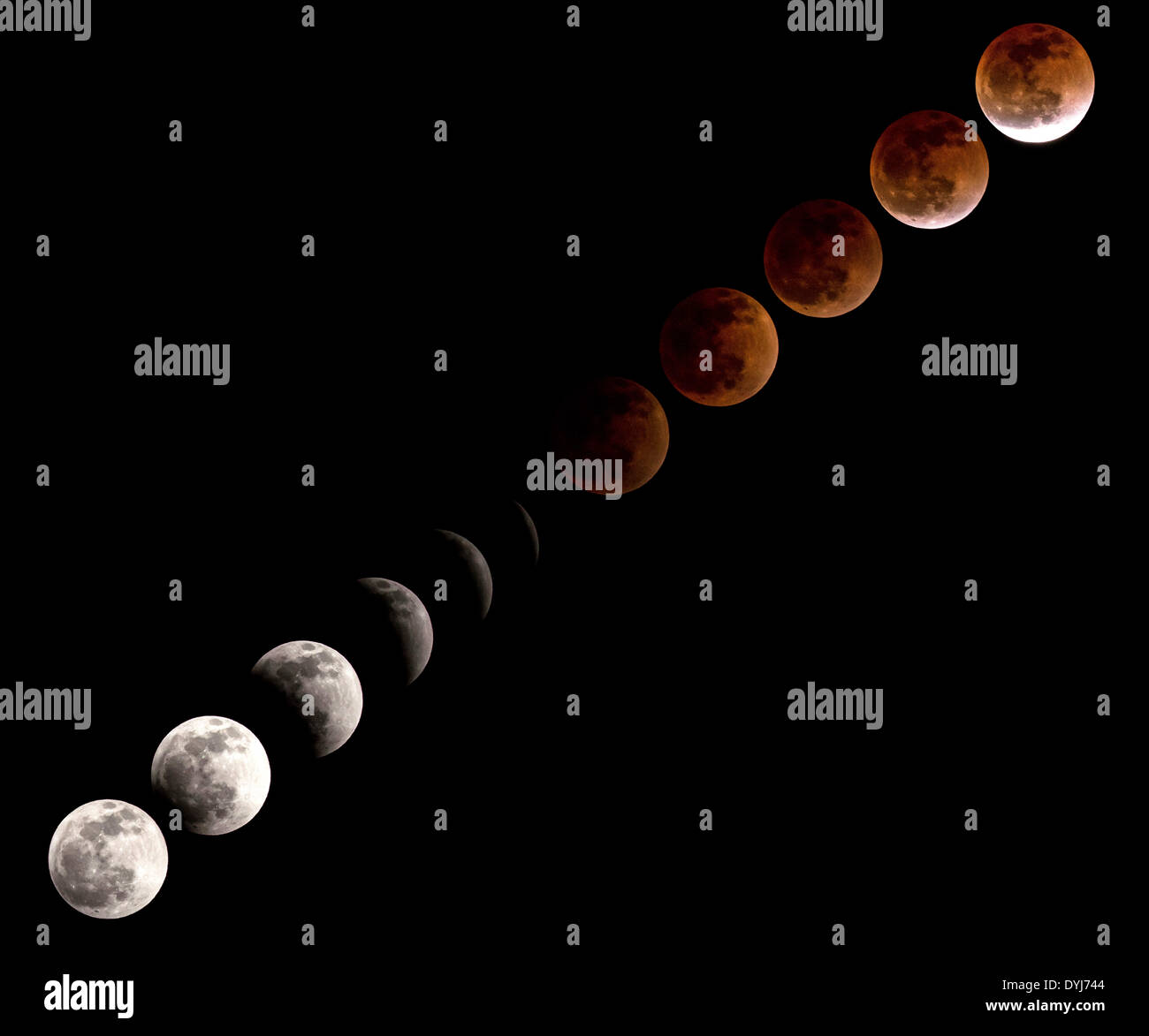 Multi-frame composite image showing the sequence of the Total Lunar Eclipse also known as a Blood Moon at the Johnson Space Center April 15, 2014 in Houston, Texas. - Stock Image