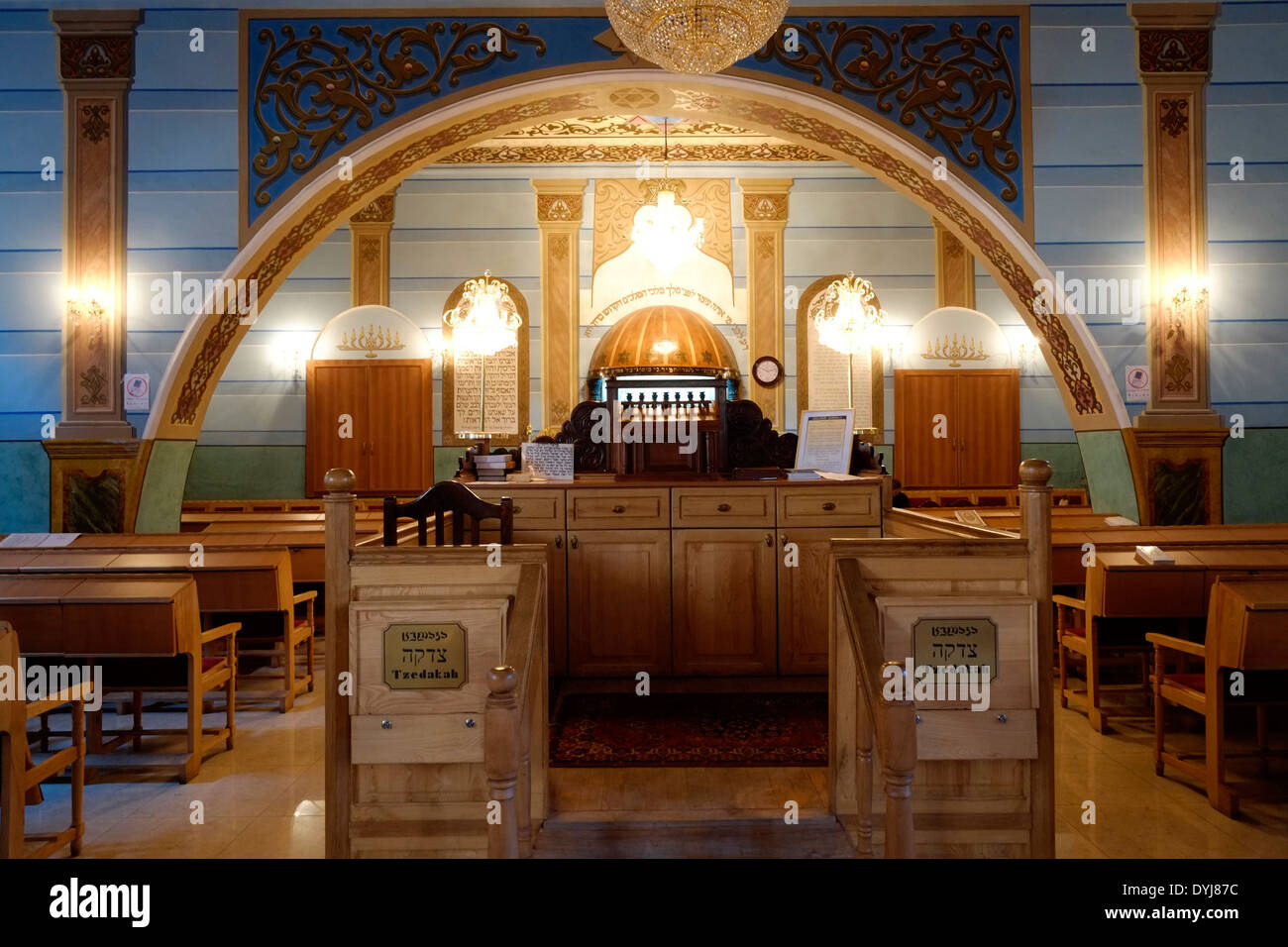 Prayer hall at the Great Jewish Synagogue built from 1895 to 1903 in an eclectic style by Georgian Jews from Akhaltsikhe - Stock Image