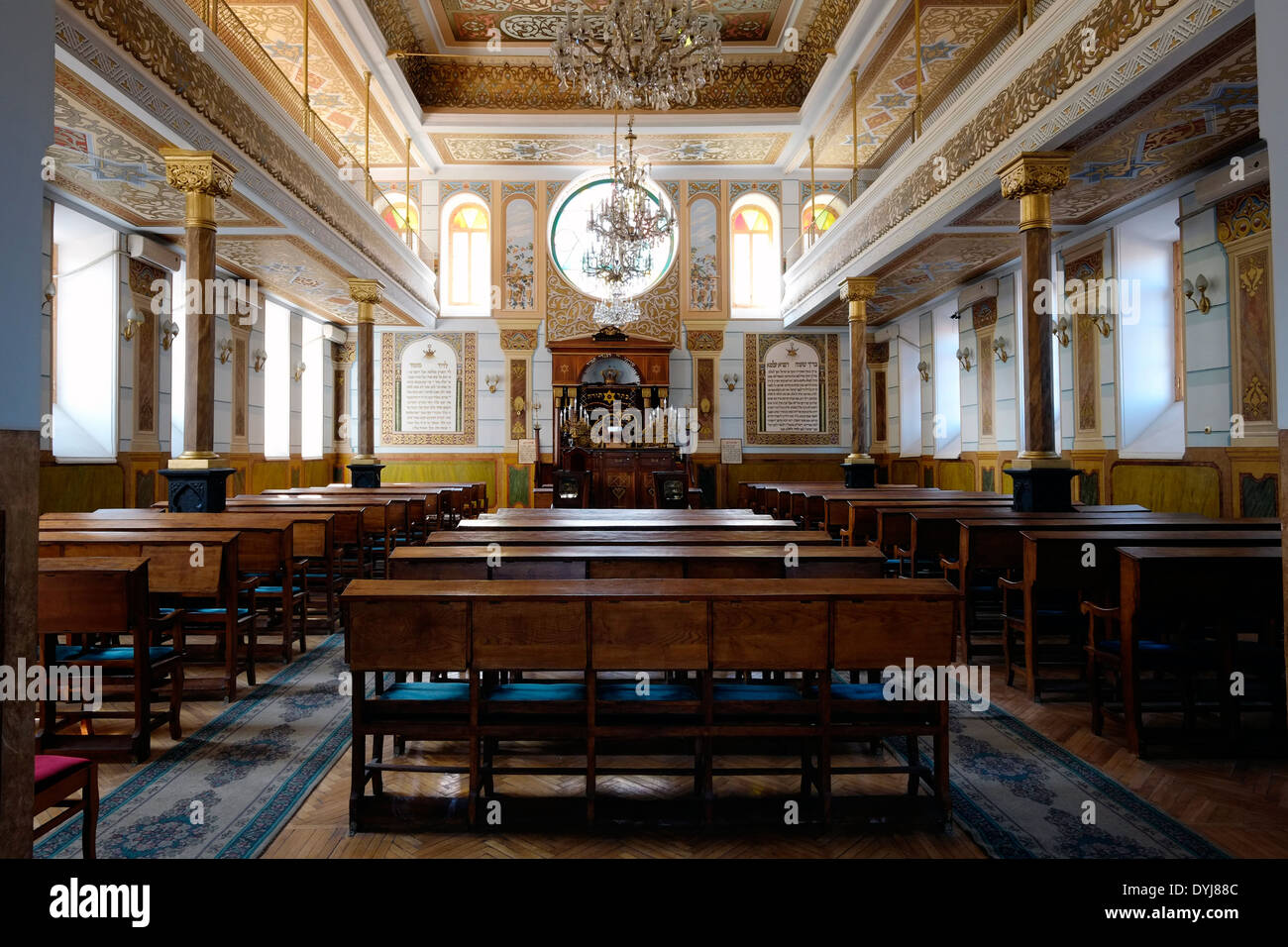 Interior of the Great Jewish Synagogue built from 1895 to 1903 in an eclectic style by Georgian Jews from Akhaltsikhe - Stock Image