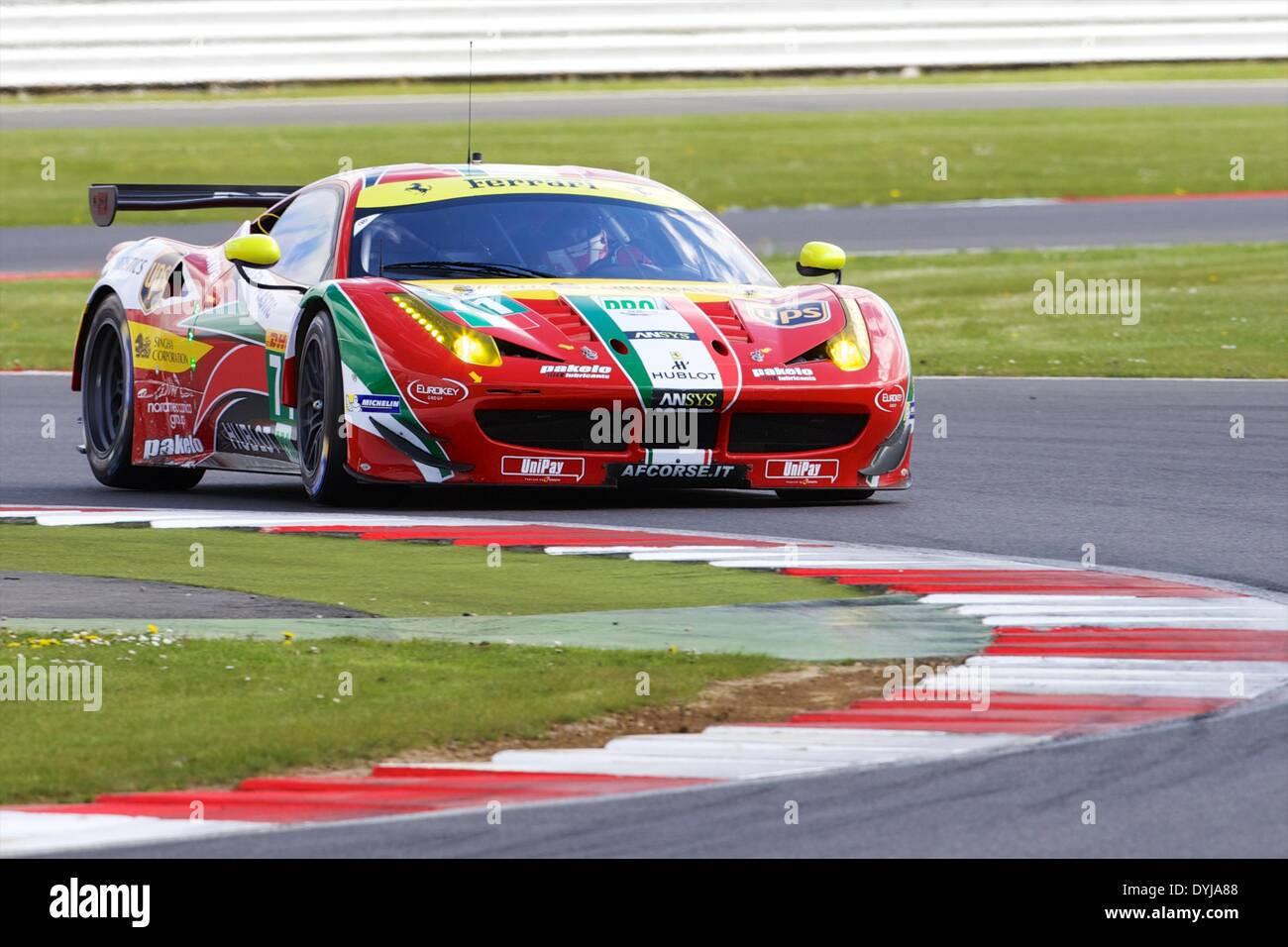Silverstone, UK. 19th Apr, 2013. AF CORSE Ferrari F458 Italia LMGTE Pro driven by Davide Rigon (ITA) and James Calado Stock Photo