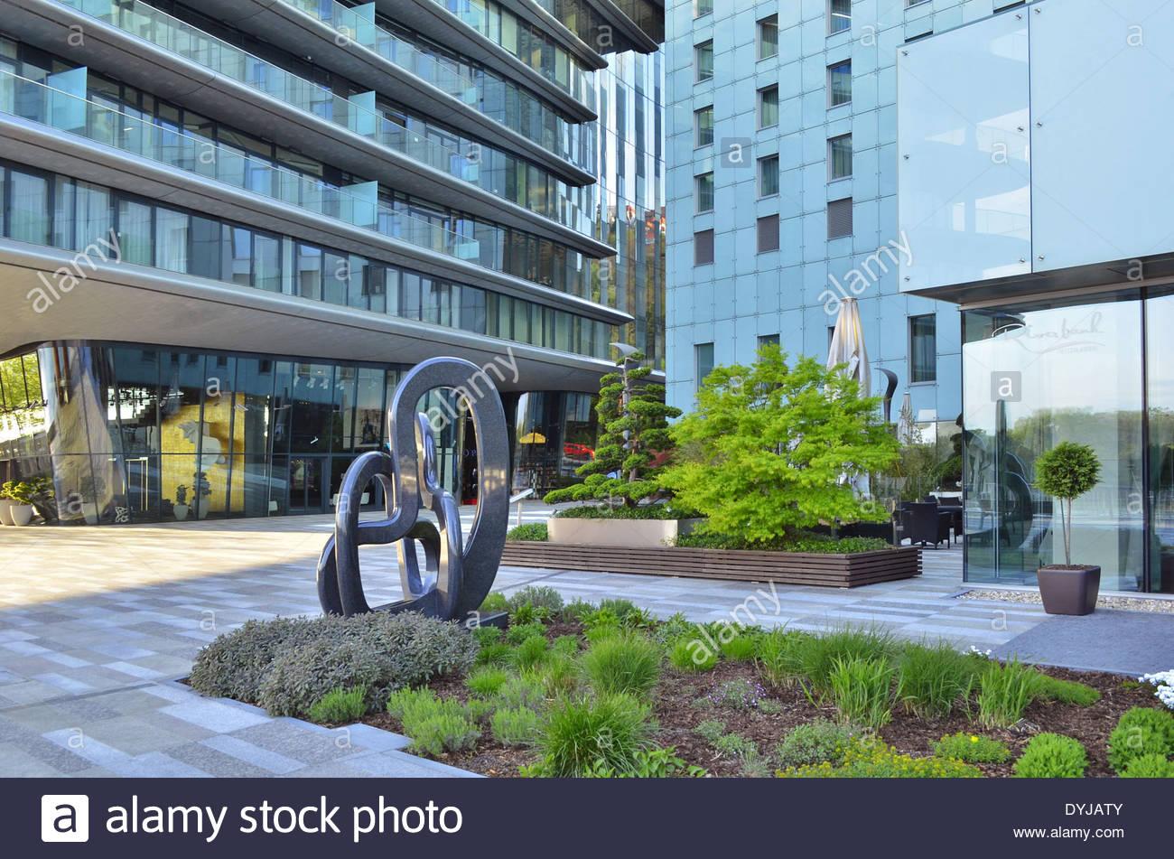 River Park - modern commercial and residential developments in Bratislava Slovakia. - Stock Image