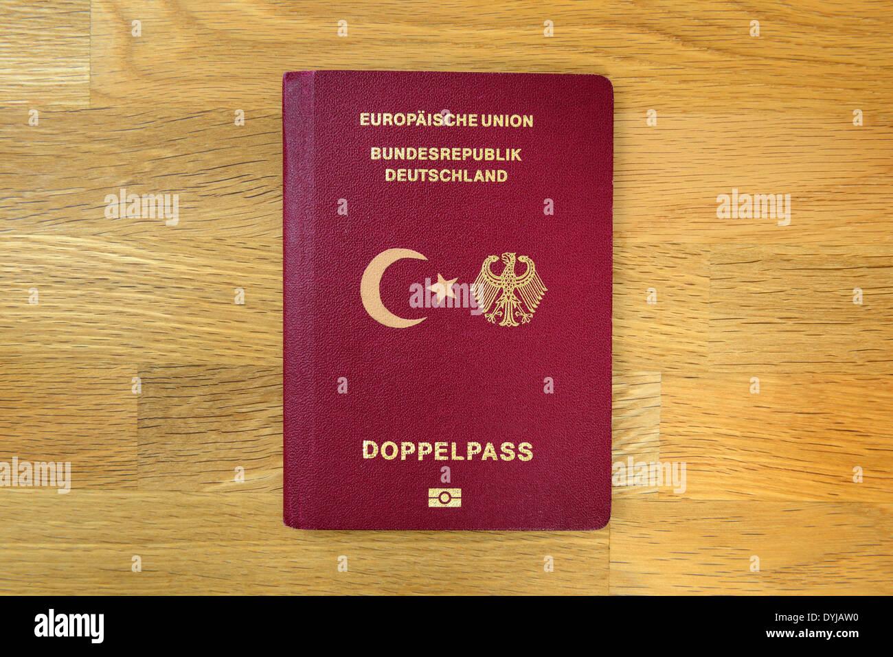 German and Turkish passport, dual citizenship - Stock Image