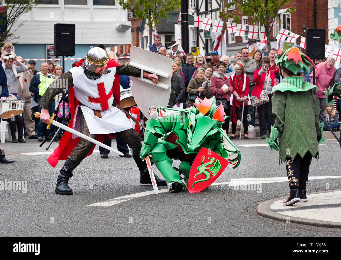 Newport, Shropshire, UK. 19th April 2014.  St George's Day Celebrations, Easter weekend, Saturday 19 April. including St George slaying the dragon. Money is raised for Newport Food Bank and Young Carers. Credit:  John Bentley/Alamy Live News - Stock Image