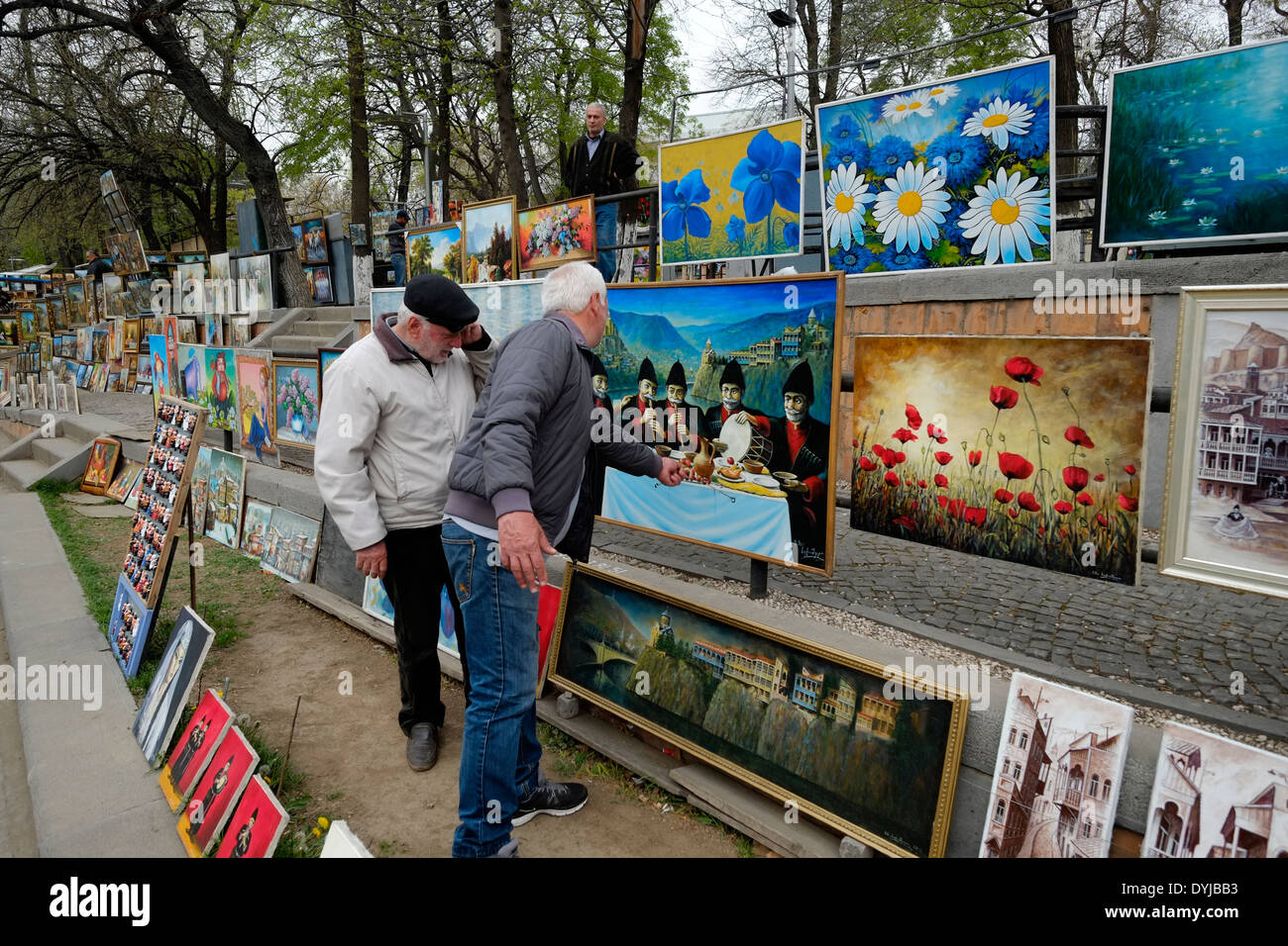 "Georgia Tbilisi Flea Market Stock Photos Georgia Tbilisi: Paintings For Sale In The ""Dry Bridge Bazaar"" Flea Market"