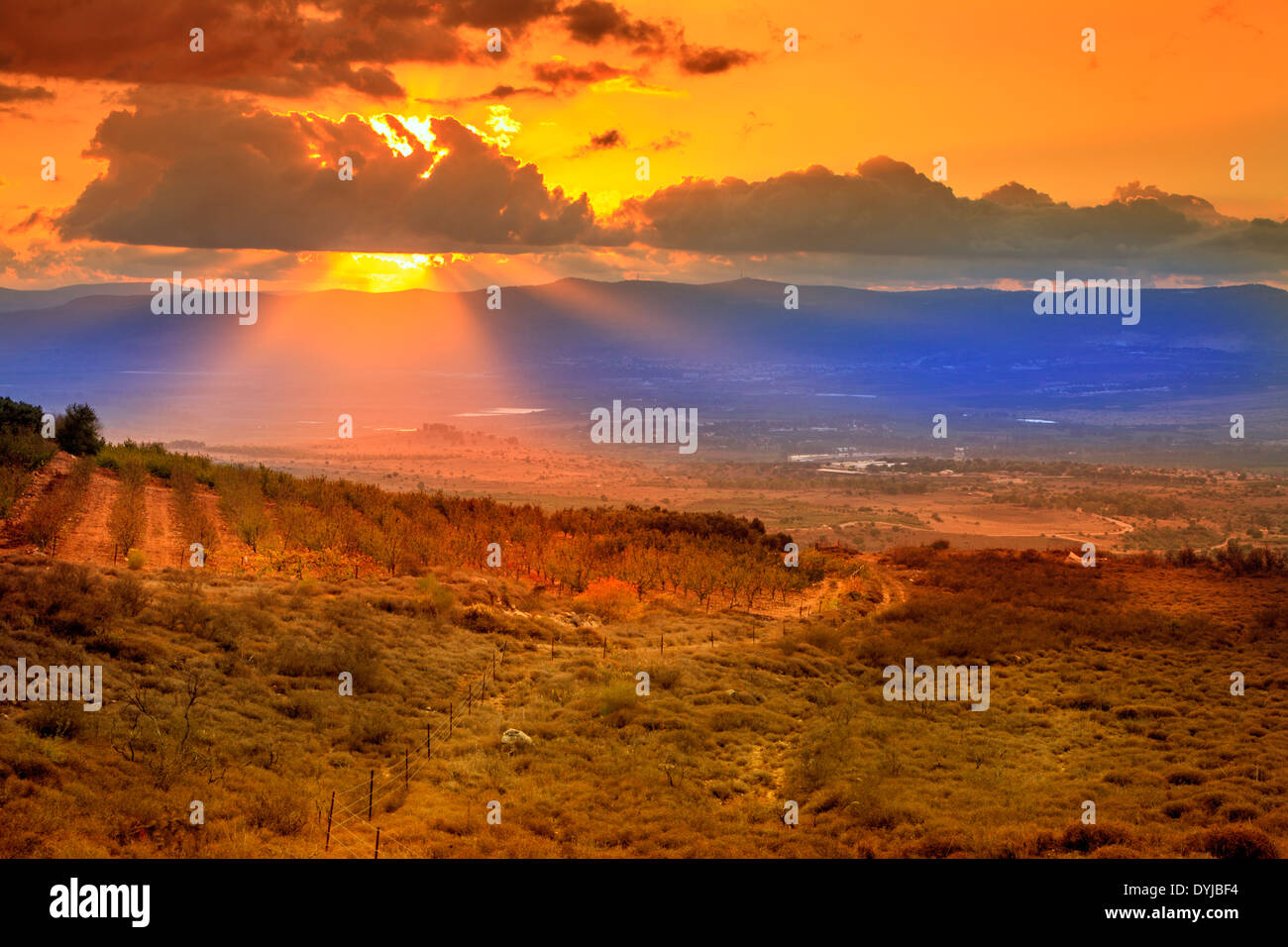 Sunset in northern Golan Heights in Israel Stock Photo