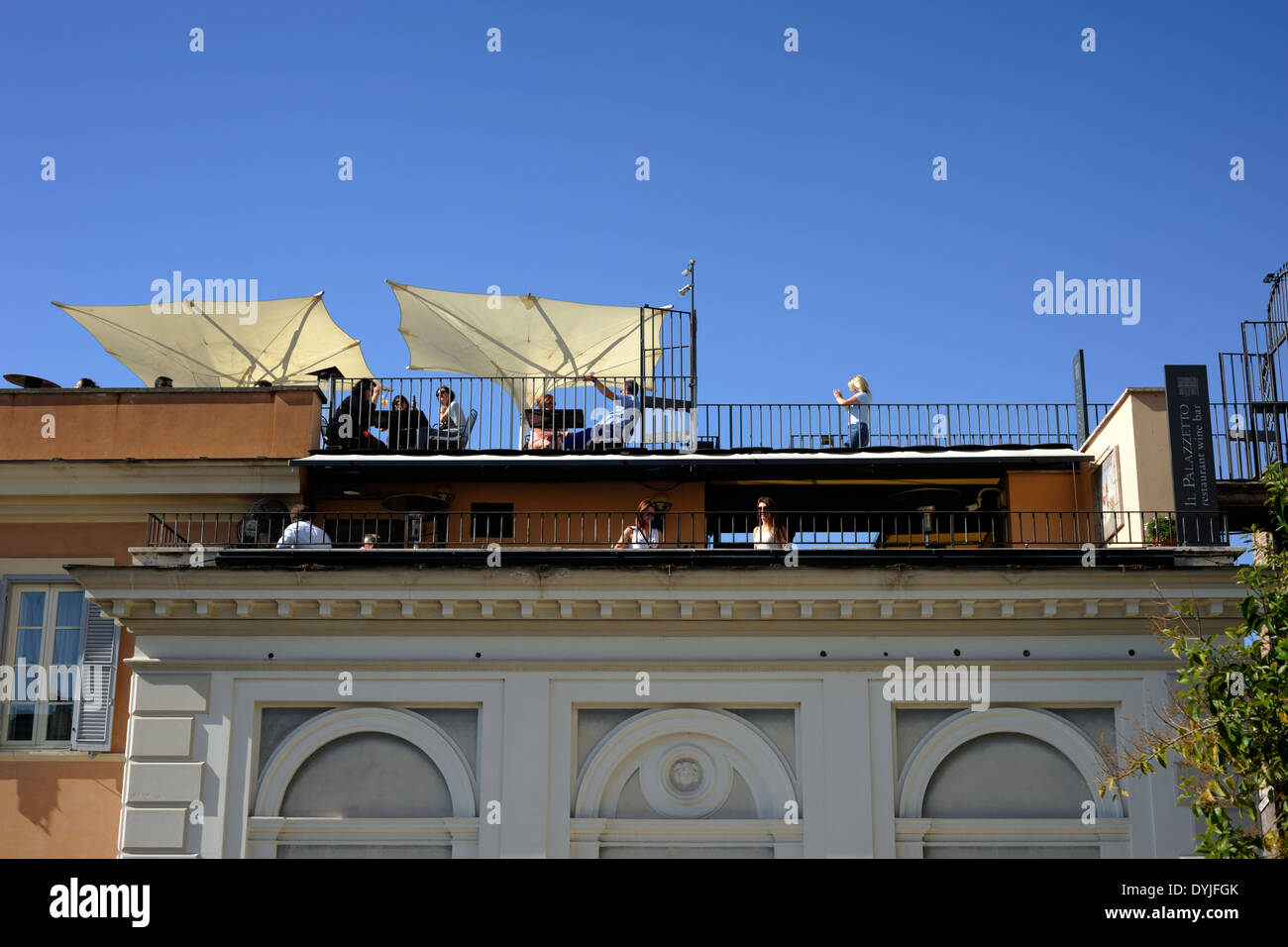 italy, rome, bar terrace - Stock Image