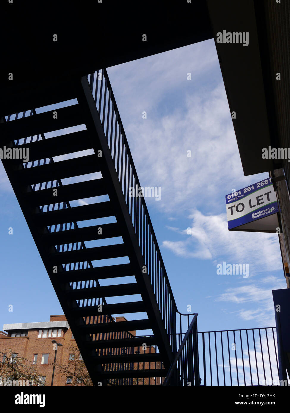 Abstract image of metal staircase in silhouette - art / creative style - Stock Image