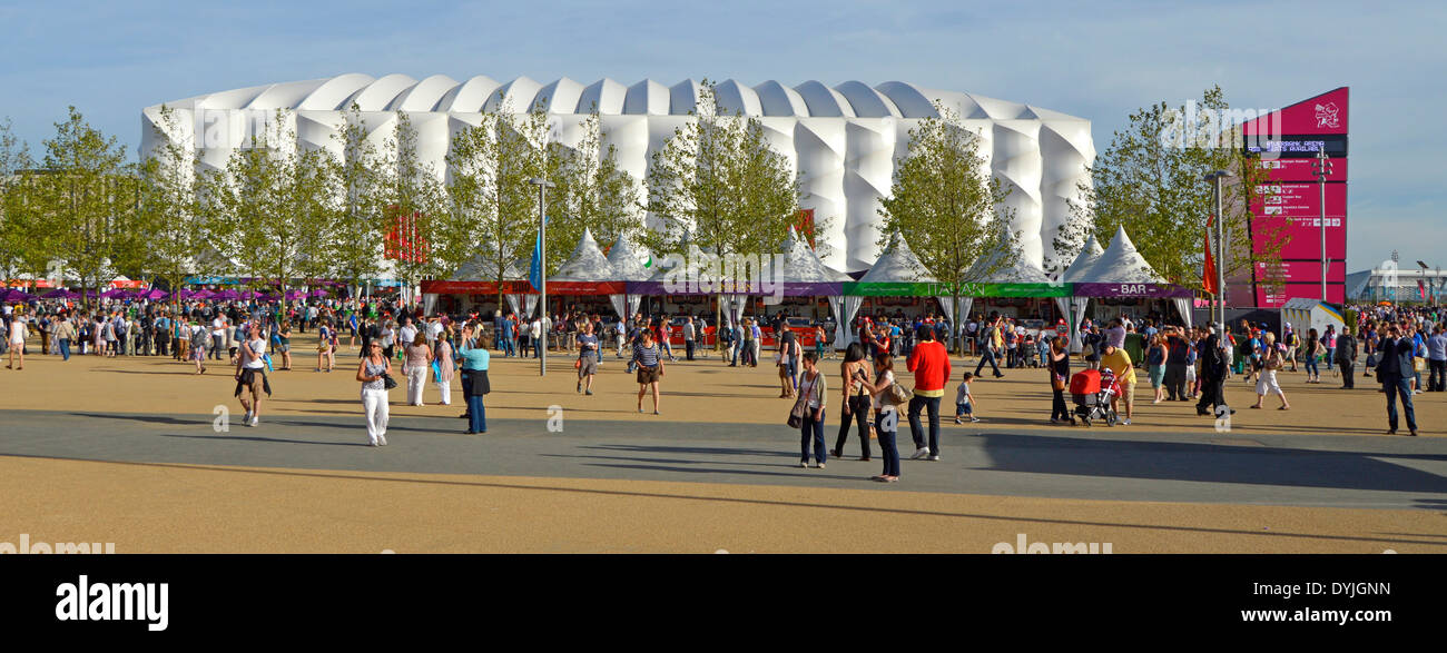 Visitors to Paralympic Games at the London 2012 Olympic Park in front of the Basketball Arena events centre Stock Photo