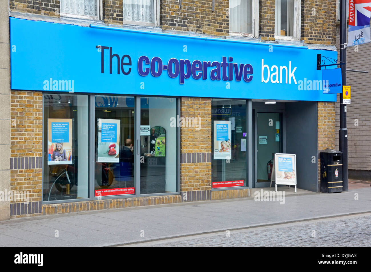 Co op high street bank branch signs Brentwood Essex England UK - Stock Image