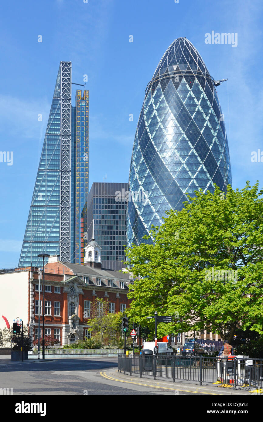 Gherkin and the Leadenhall Building the Cheesegrater skyscrapers in the City of London - Stock Image