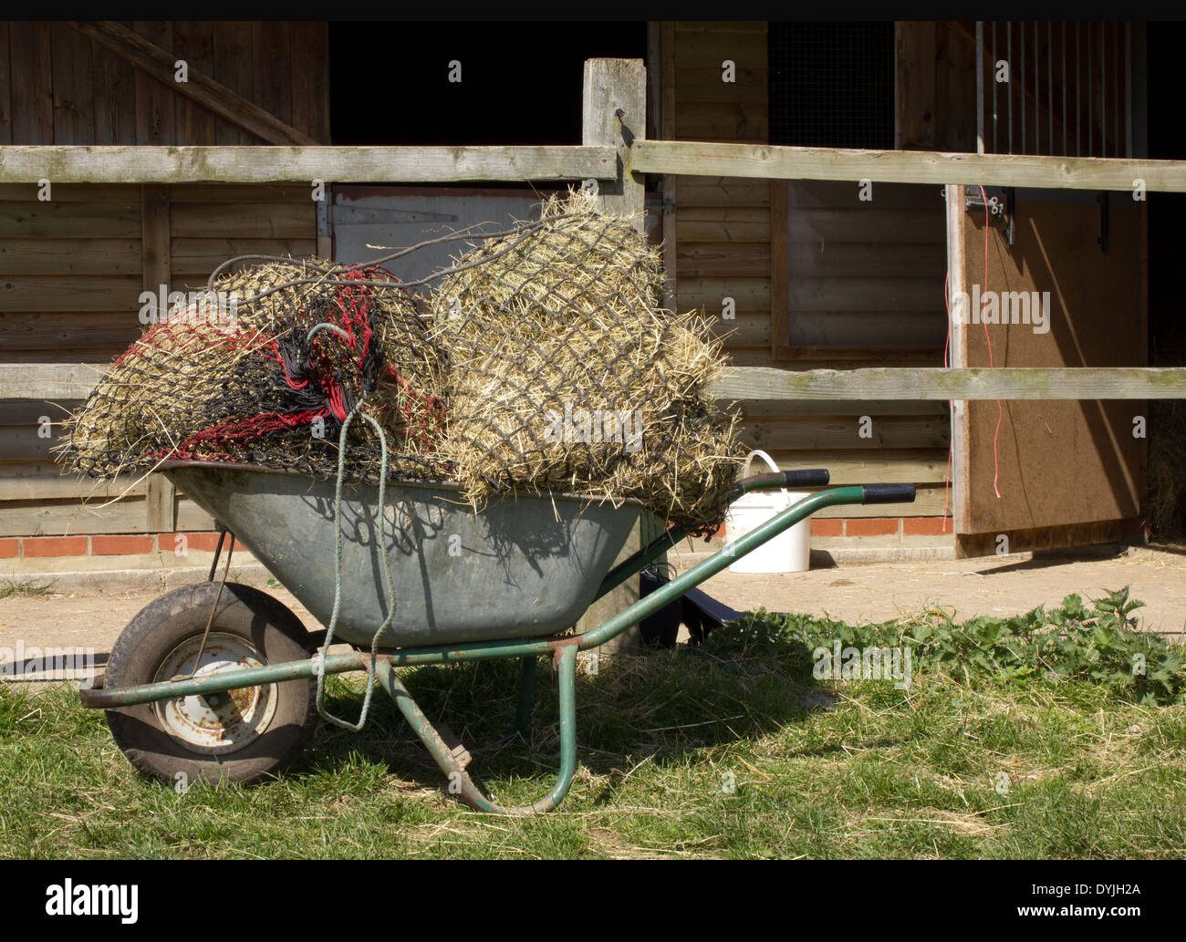 Wheelbarrow of three bags of netted hay / straw for horse feed against a background of stables, - Stock Image