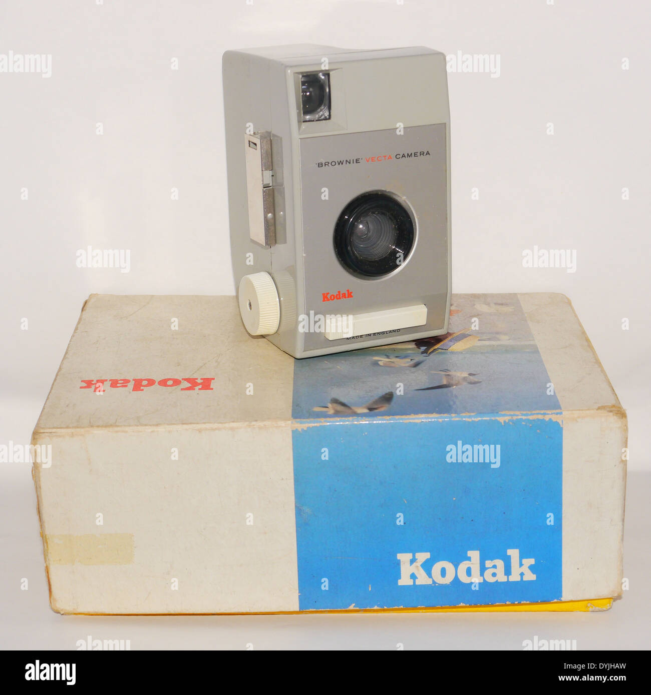 Kodak Brownie 127 film Vecta camera with original box - front view on white background - colour - Stock Image