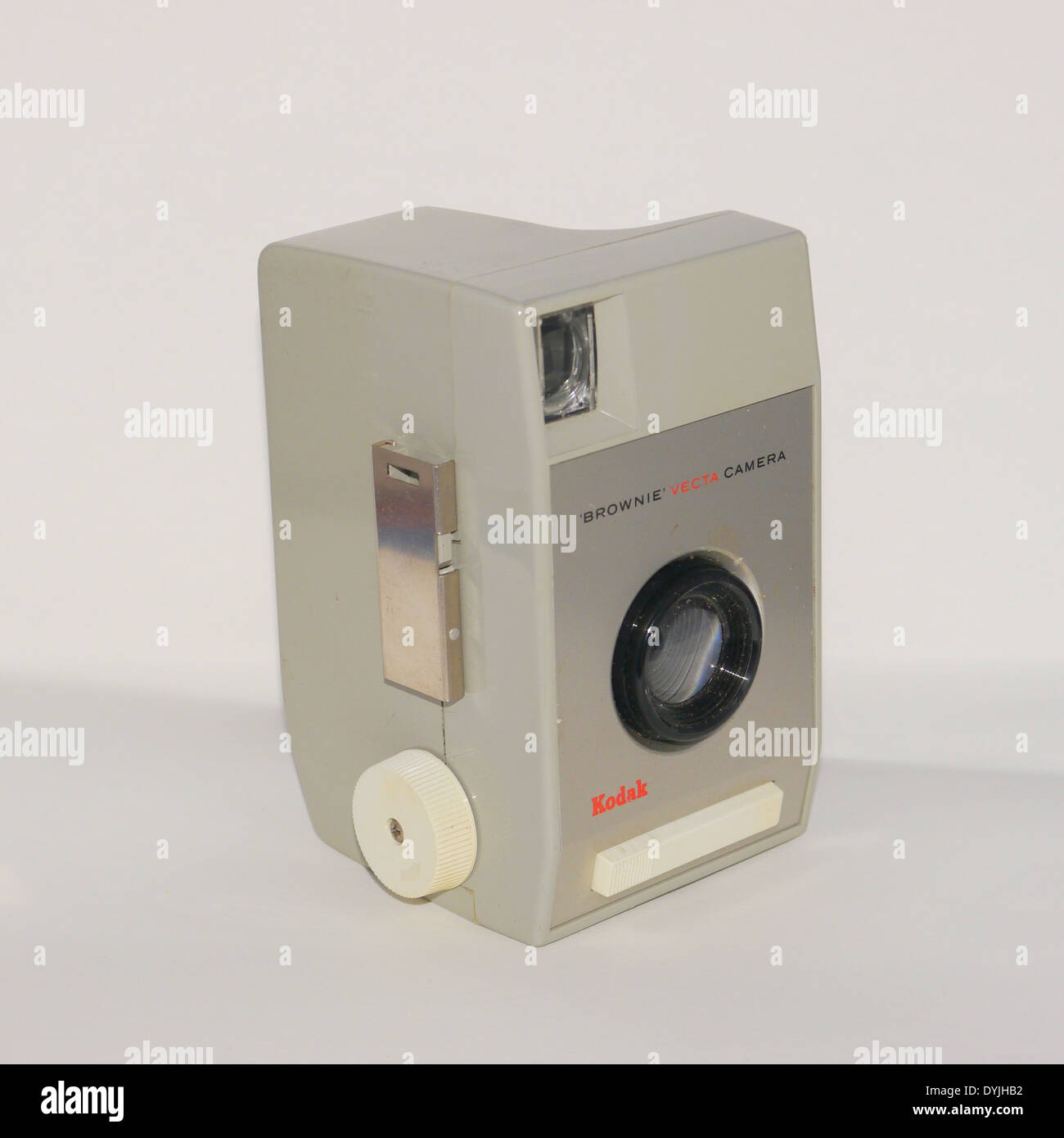 Kodak Brownie 127 film Vecta camera - front view on white background - colour - Stock Image