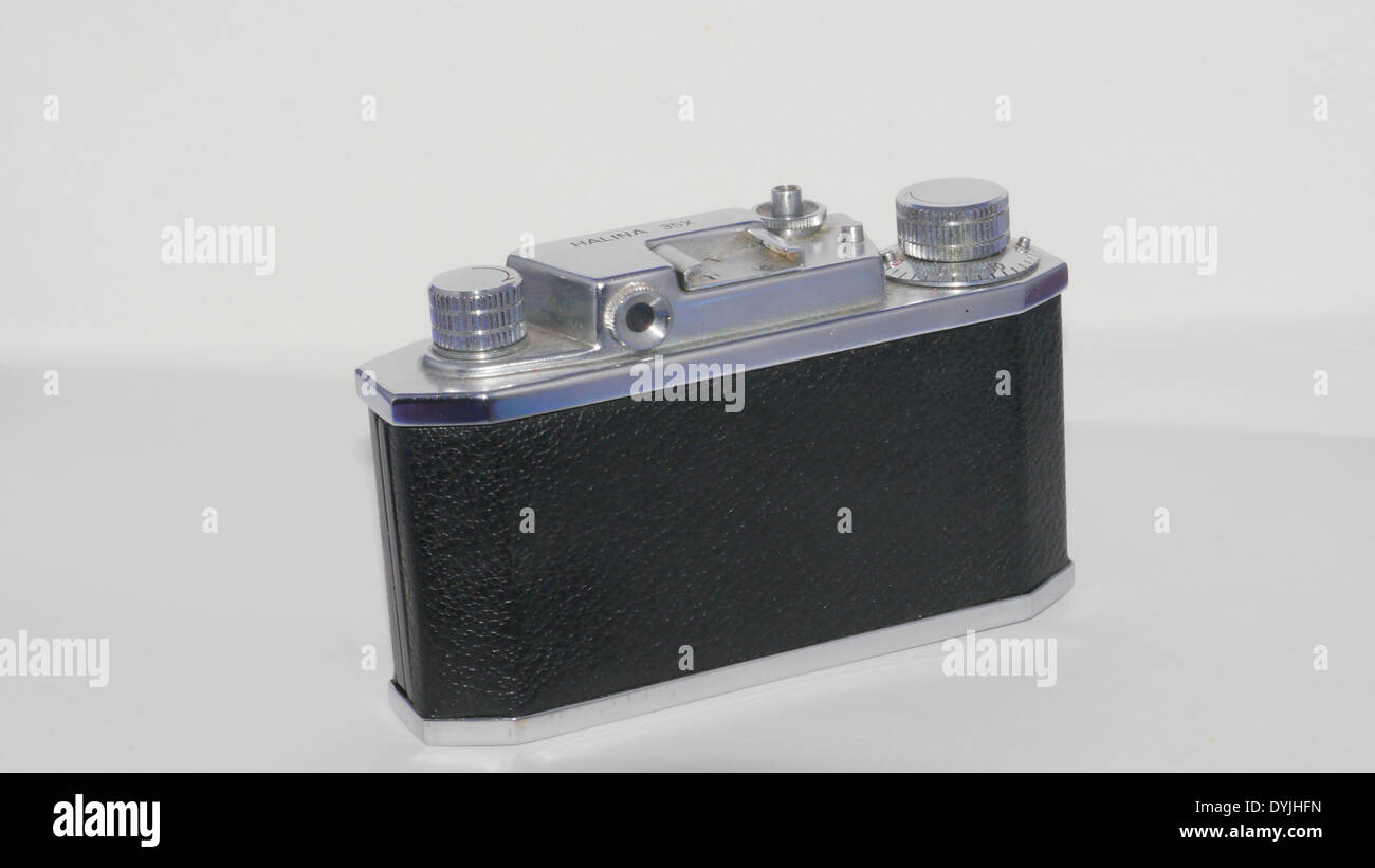 Halina X35 analogue 35mm camera, photographed against white background - rear view - Stock Image