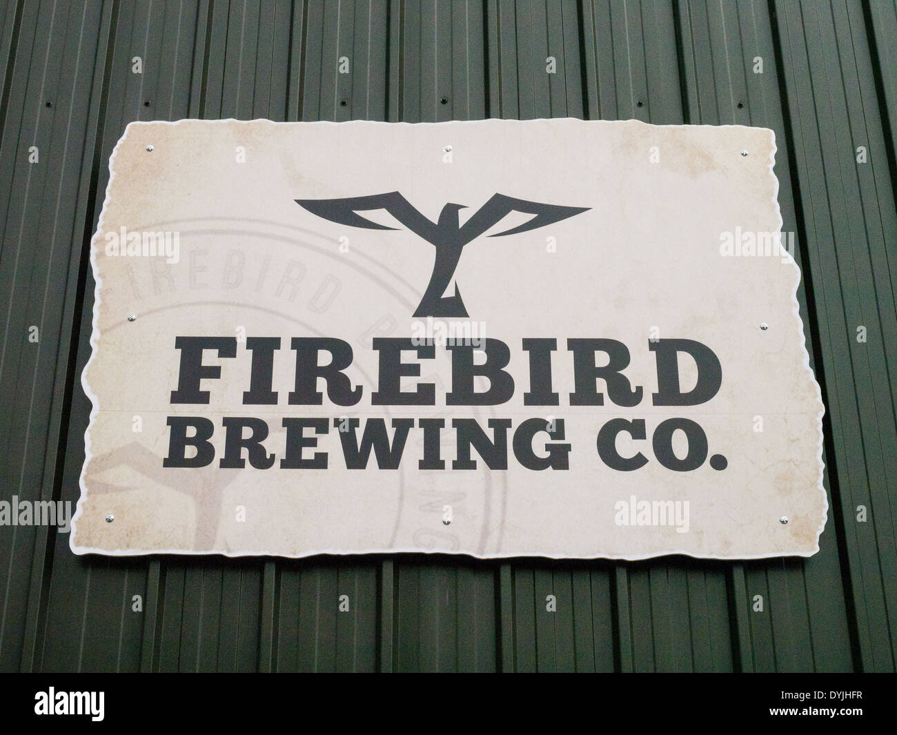 Firebird Brewing Company signboard, Rudgwick, West Sussex. Stock Photo