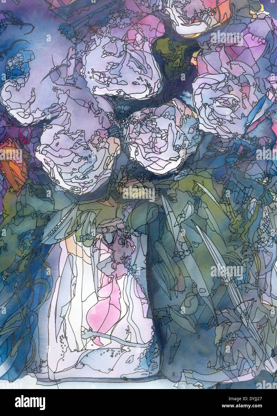 White roses abstract watercolor and ink painting art nouveau style white roses abstract watercolor and ink painting art nouveau style gumiabroncs Gallery