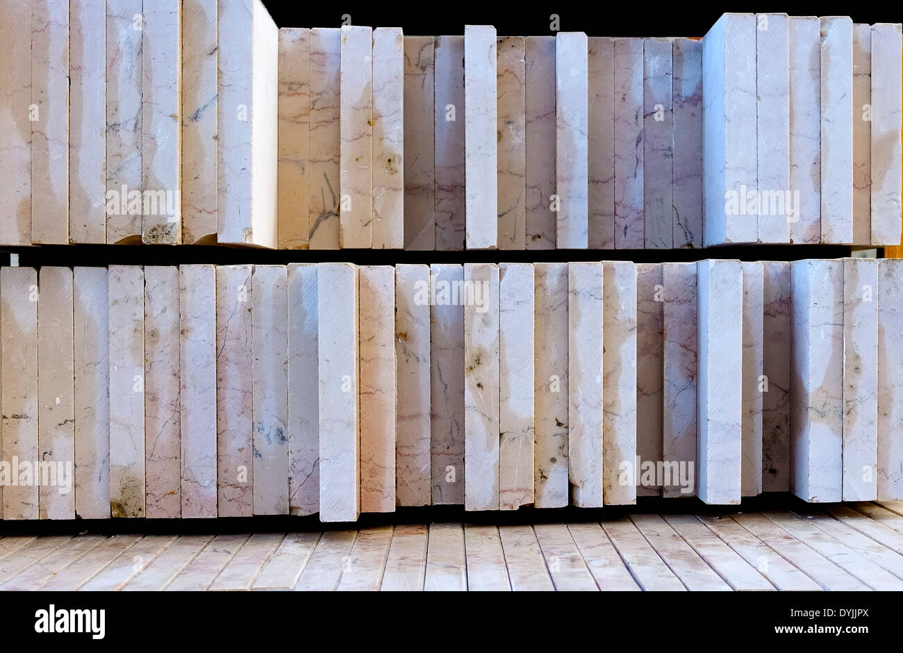 stone slabs cut and polished on a pallet - Stock Image