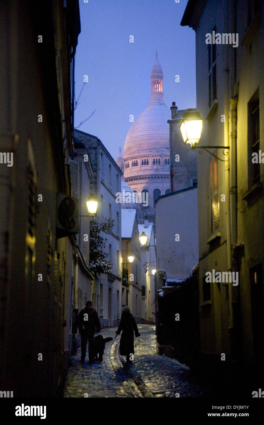 Montmartre, Paris in heavy snow. Rare winter conditions. Montmartre, Paris, France - Stock Image