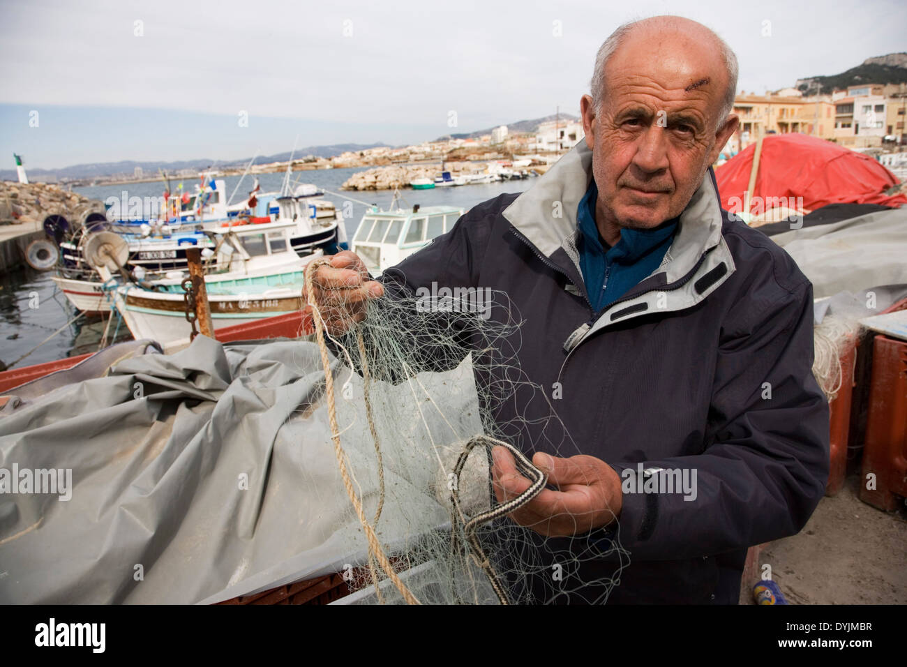Jean-Claude Bianco fisherman and diver Luc Vanrell who found Antoine Saint Exupery's airplane. Near Marseille, France Stock Photo