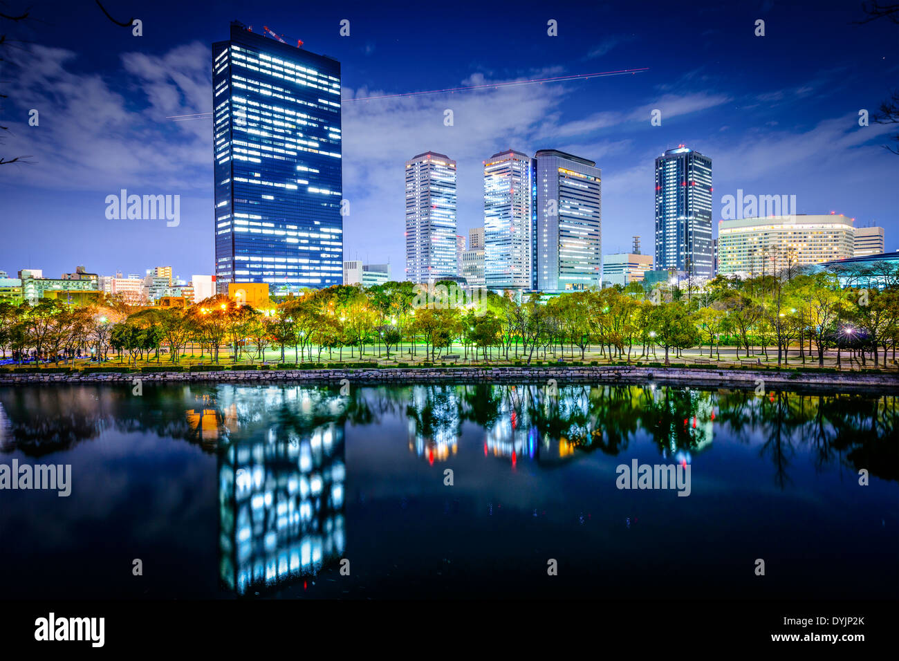 Osaka, Japan business park city skyline - Stock Image