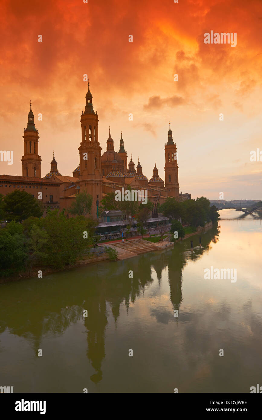 Zaragoza, Ebro River, Saragossa, Aragon, Spain Stock Photo