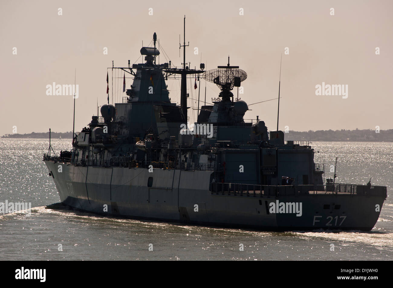 FGS Bayern Bavaria F217 Brandenburg class Frigate of the German Navy in the solent leaving Portsmouth - Stock Image