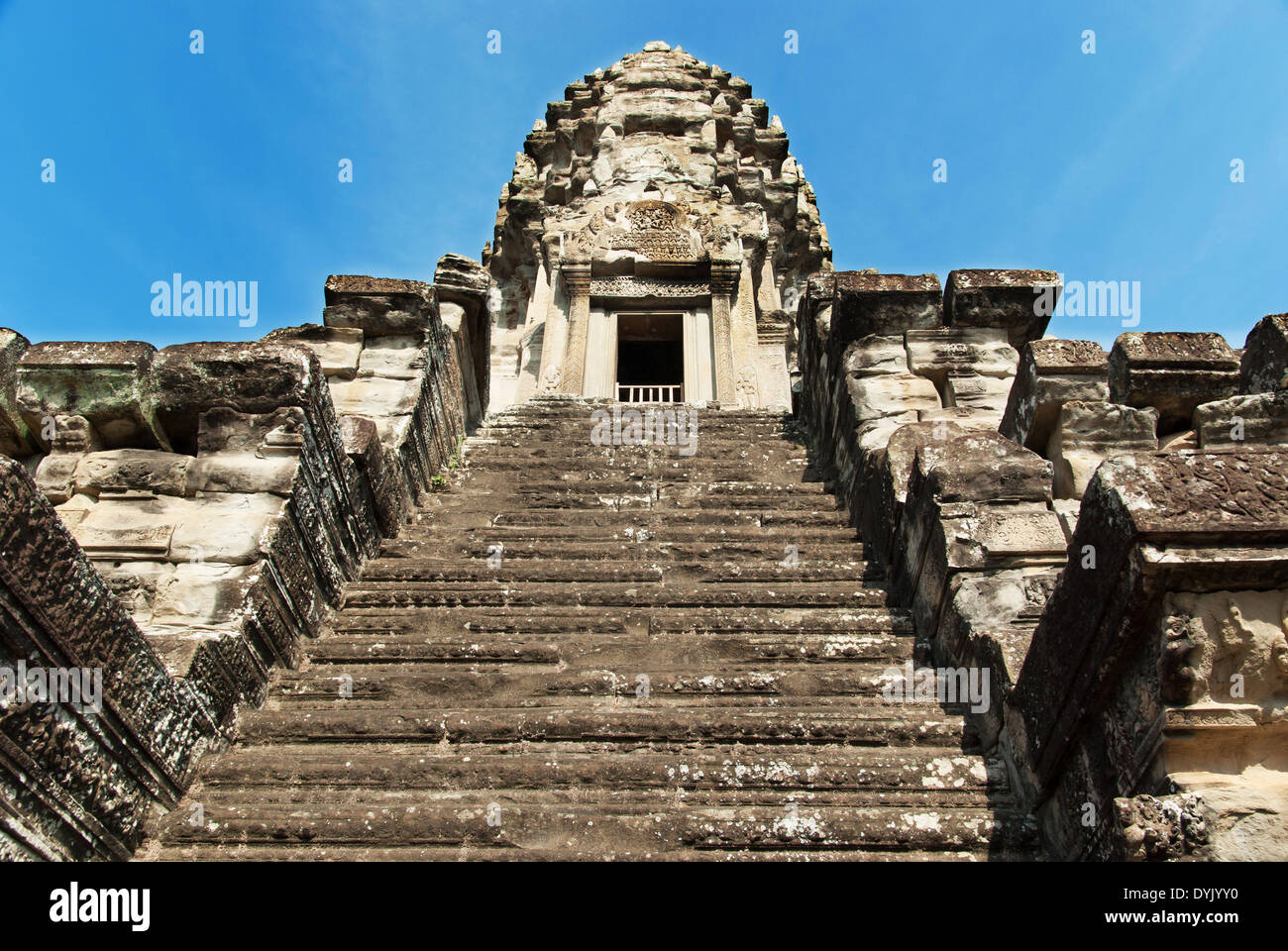 Stone steps leading to Angkor Wat stone tower, Cambodia, Asia - Stock Image