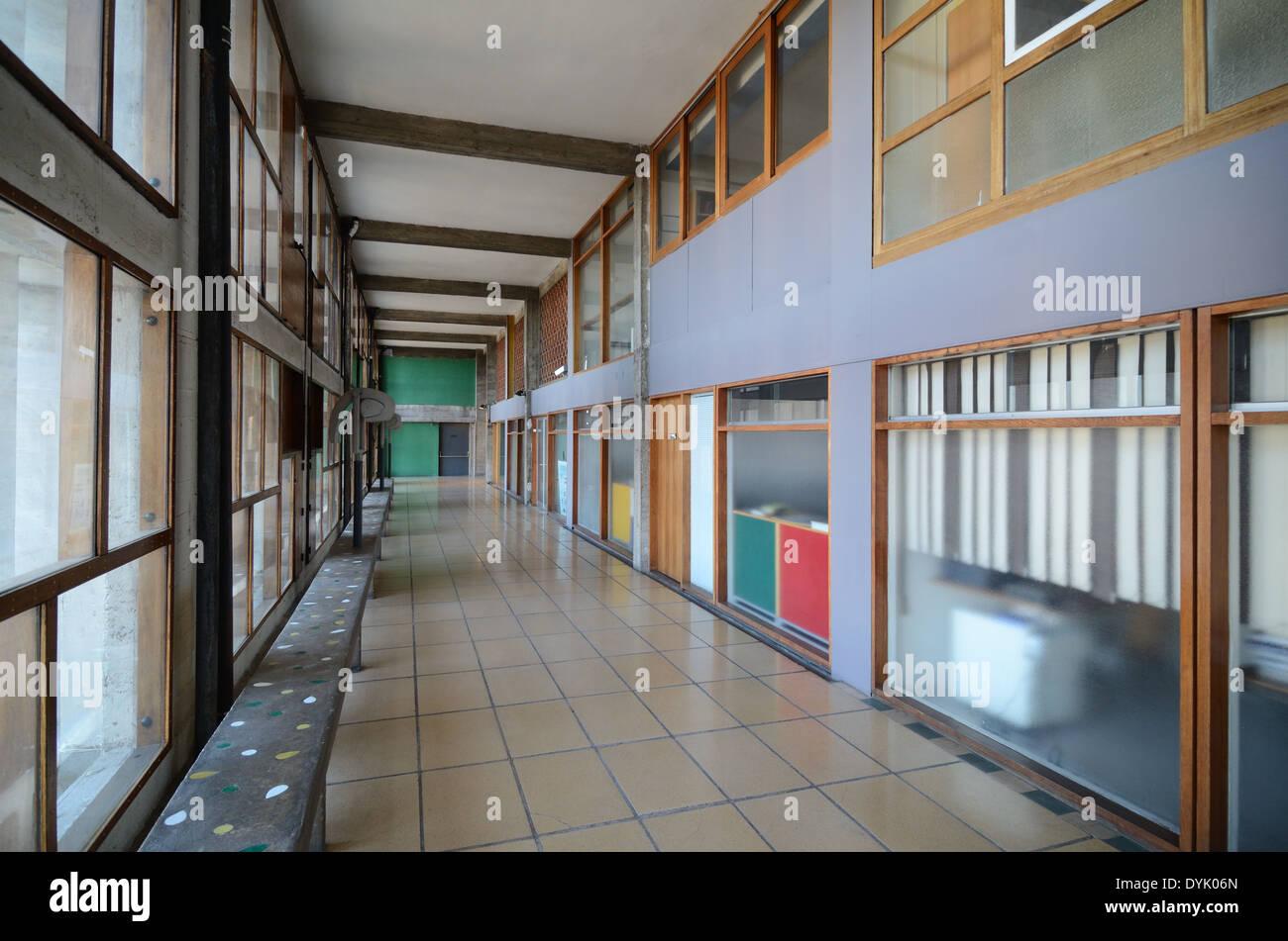 Interior Corridor of the Cité Radieuse or Unité d'Habitation by Le Corbusier Marseille or Marseilles - Stock Image