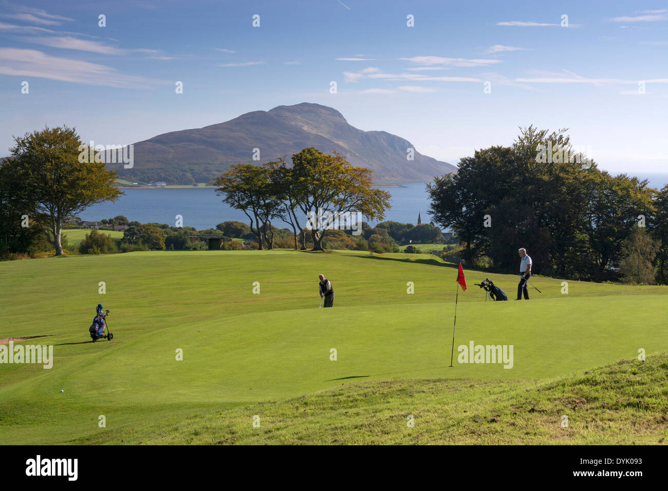 golfers on lamlash golf course isle of arran - Stock Image