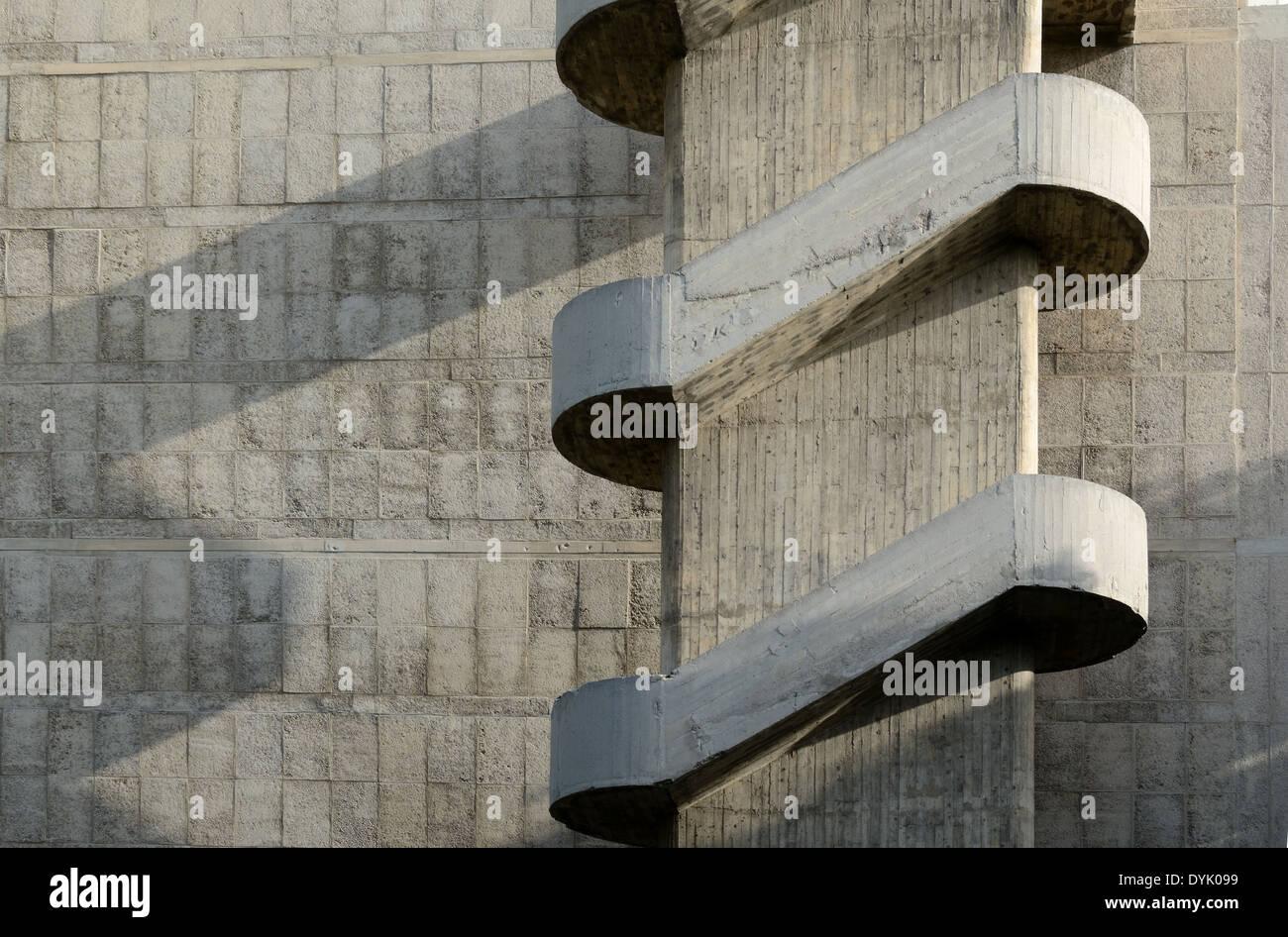 External Staircase of the Unité d'Habitation or Cité Radieuse by Le Corbusier Marseille or Marseilles France - Stock Image