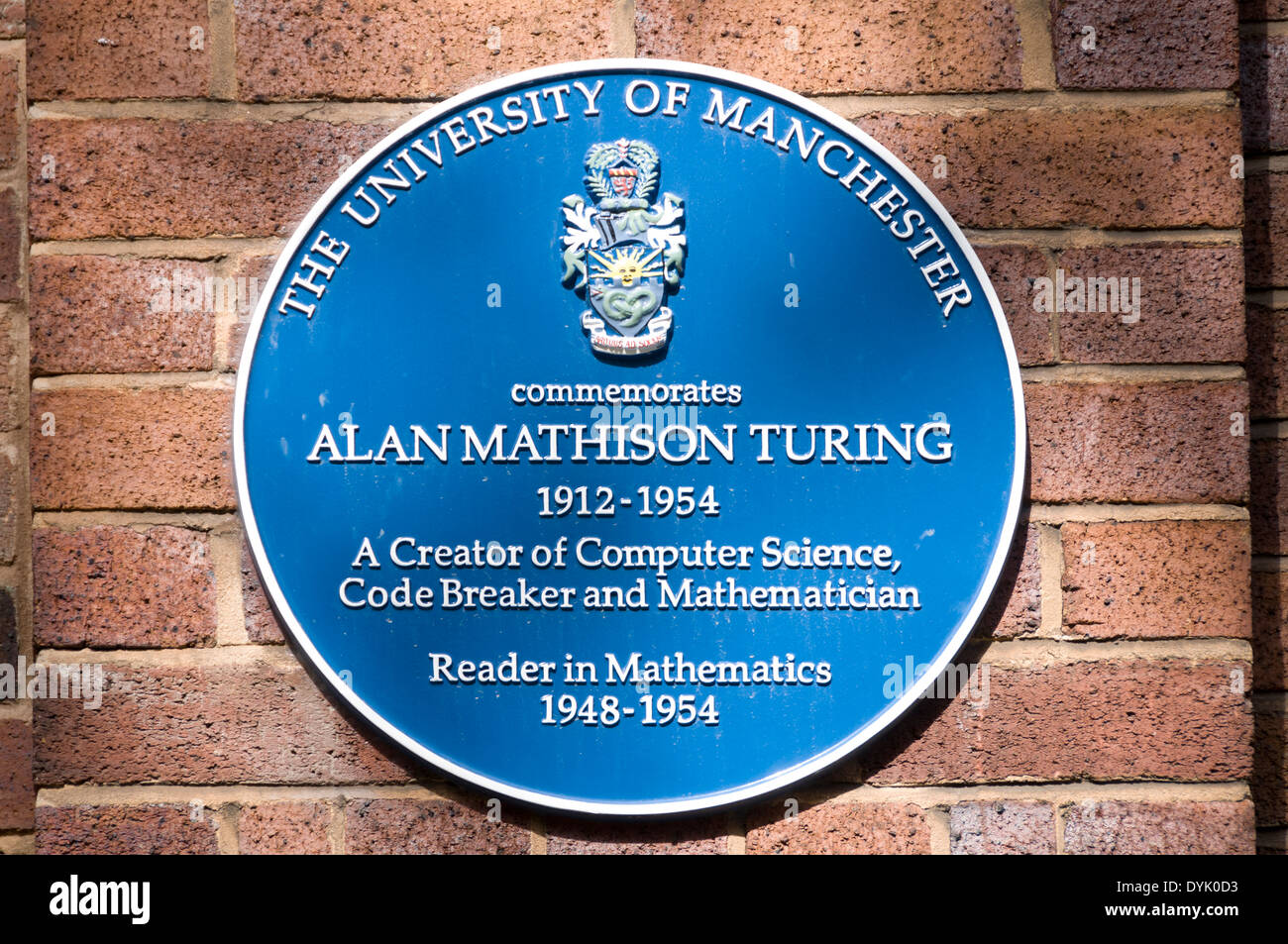 Blue plaque to Alan Turing, Coupland Building 1, Manchester University campus, off Oxford Road, Manchester, England, UK - Stock Image
