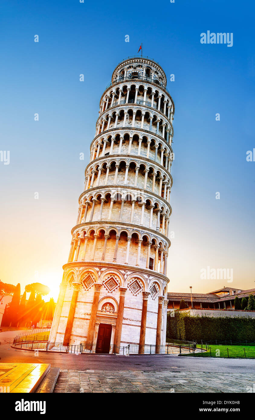 Pisa, place of miracles: the leaning tower and the cathedral baptistery, tuscany, Italy - Stock Image